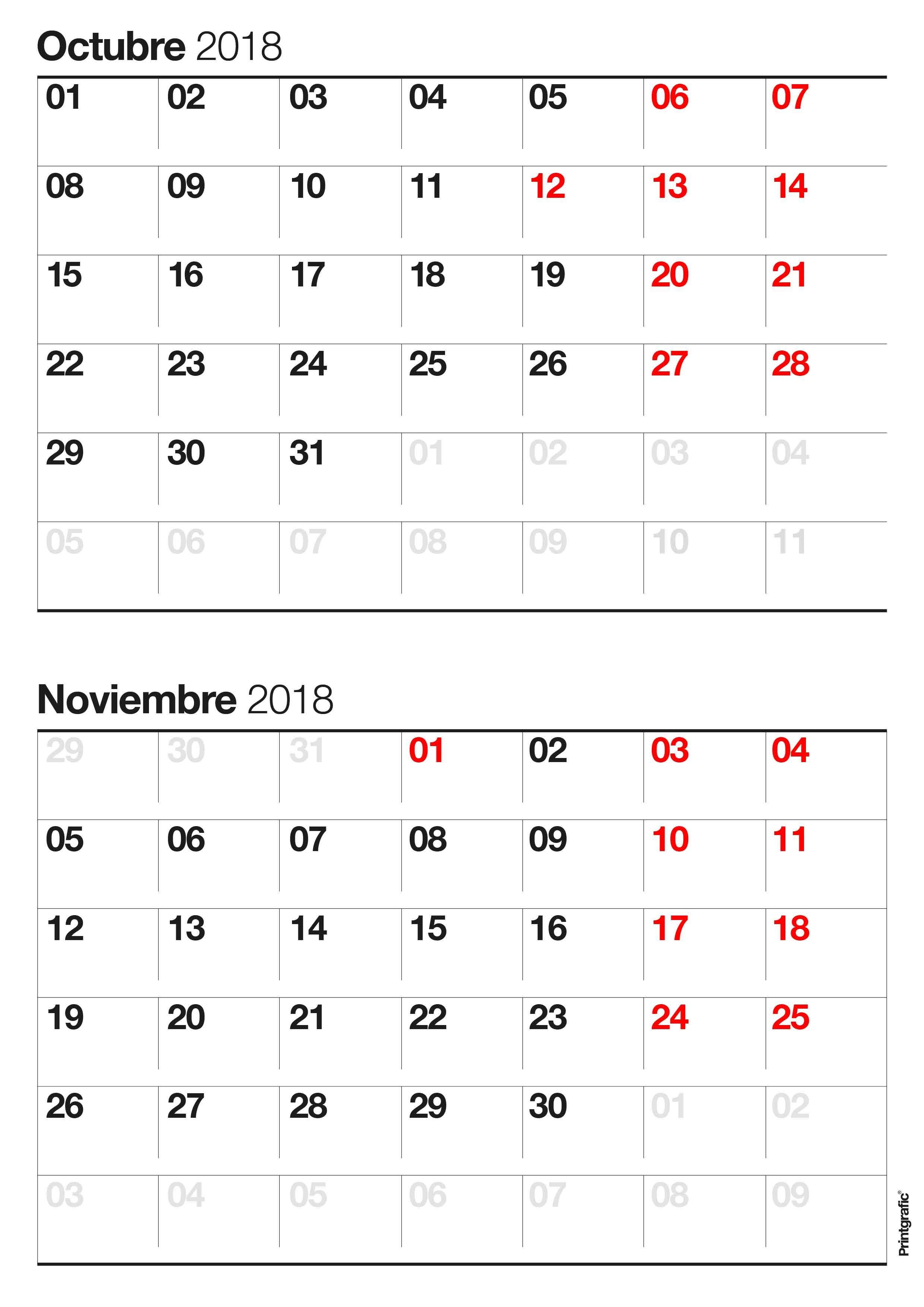 Calendario para imprimir octubre noviembre impresiones 2481x3509 Calendario para imprimir