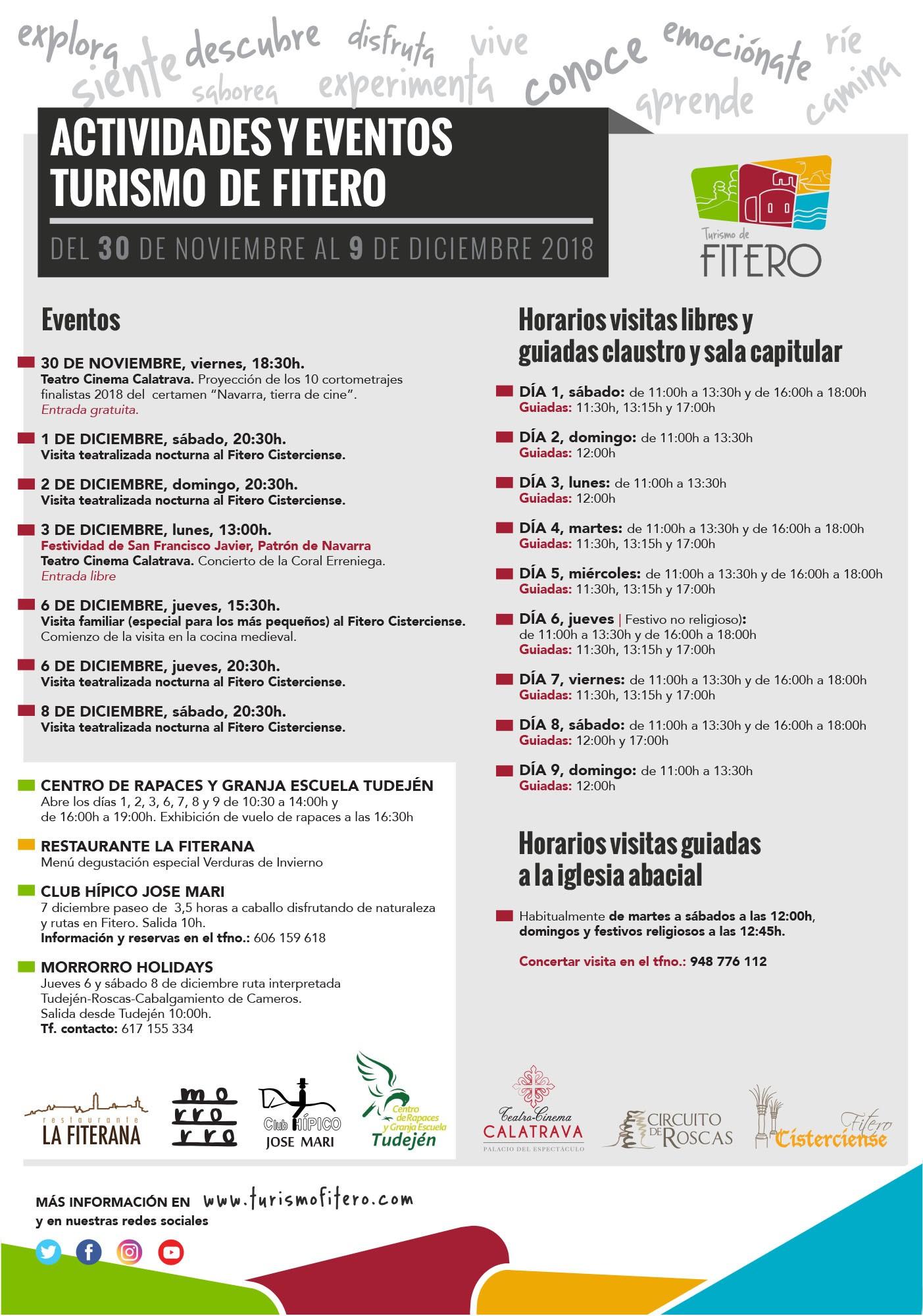 Actividades y eventos Turismo de Fitero desde el 30 de noviembre hasta el 9 de diciembre