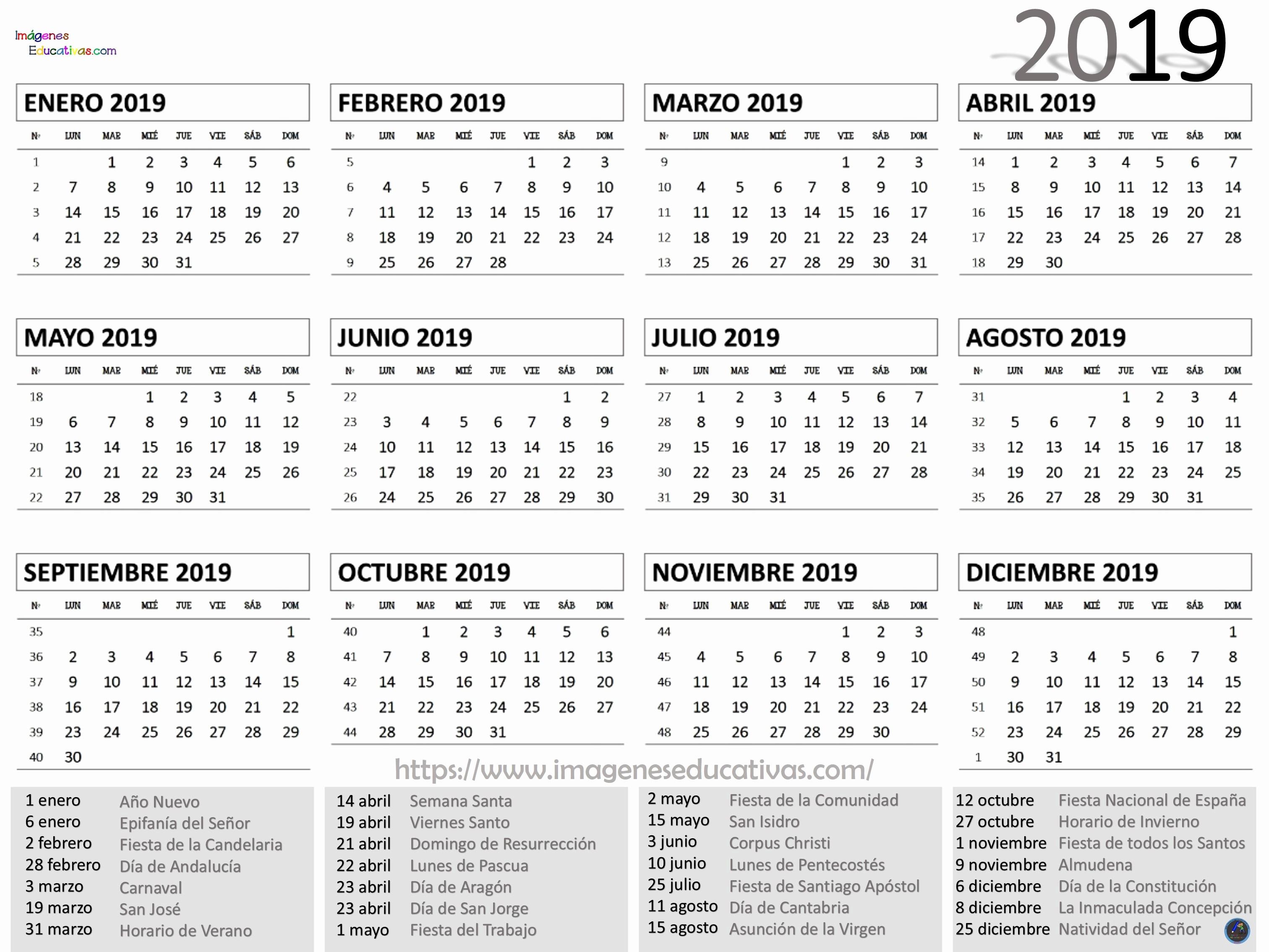 Personalizar Calendario Outlook 2019 Calendario 2019 1 Imagenes Educativas