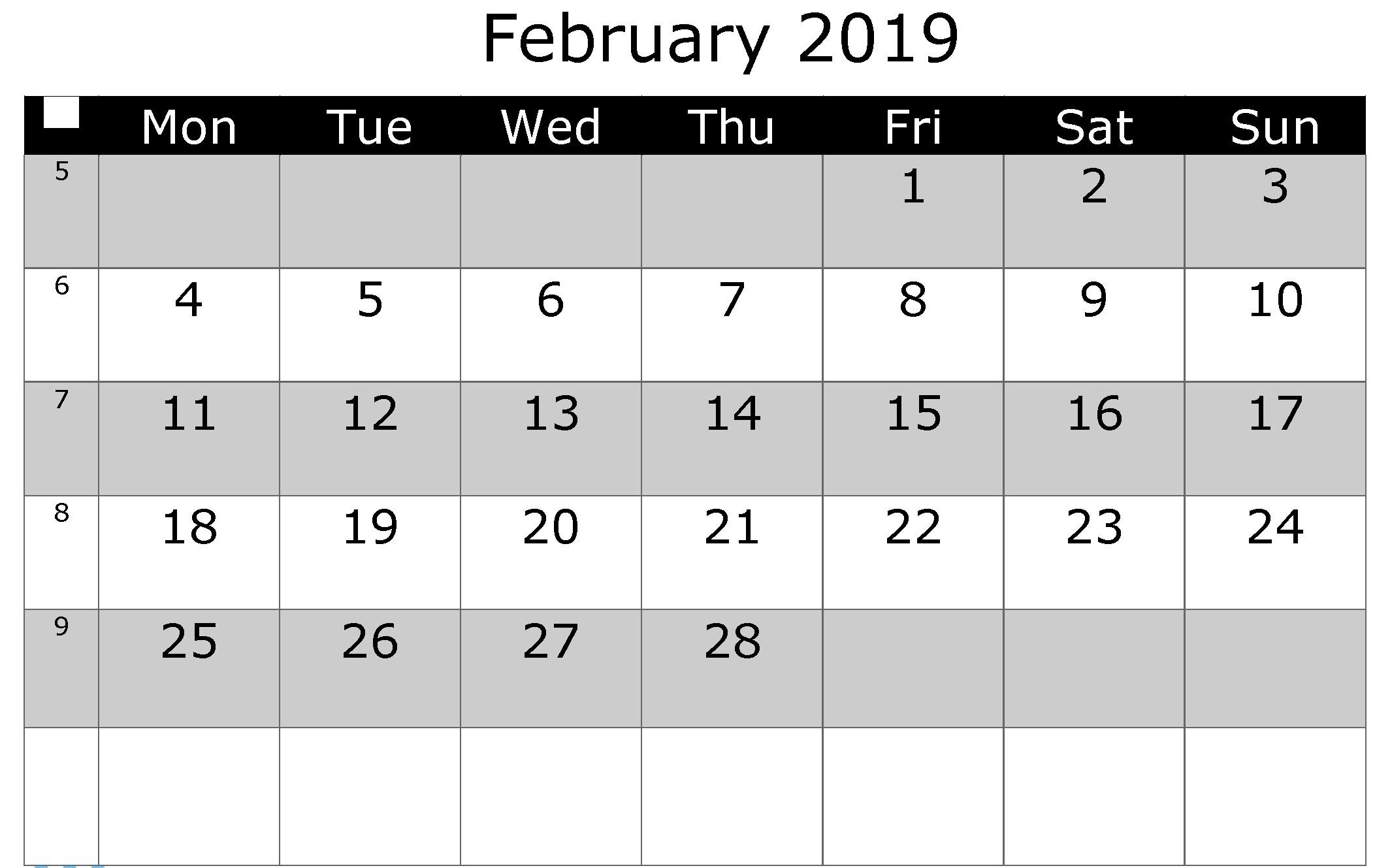 February 2019 Printable Calendar PDF