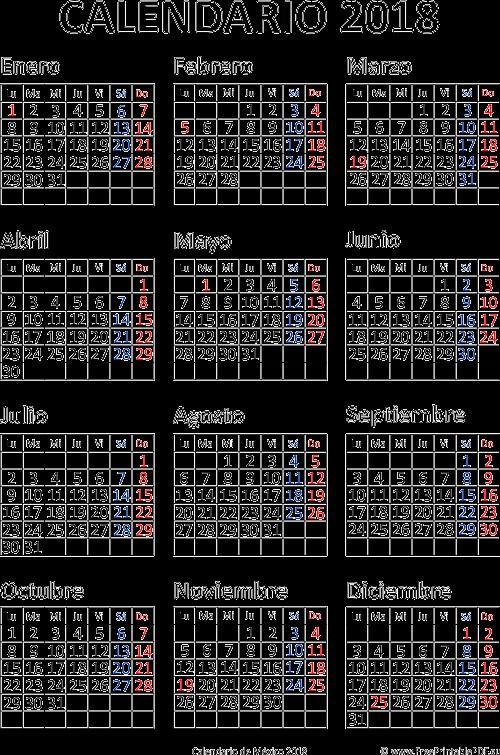 mx 2018 calendario mexico
