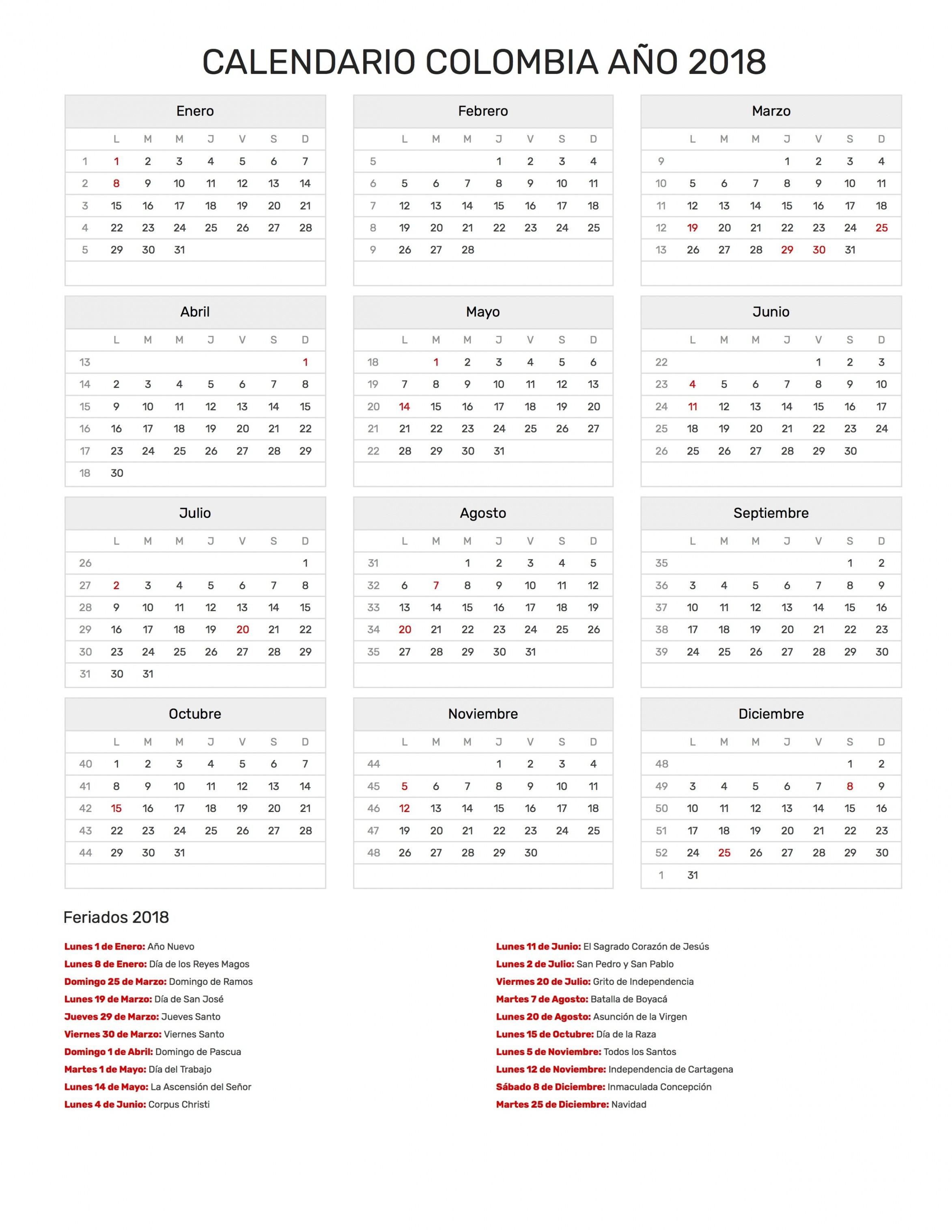 Calendario Febrero 2019 Dias Festivos Más Arriba-a-fecha Calendario 2018 Con Festivos — Fiesta De Lamusica Medellin Of Calendario Febrero 2019 Dias Festivos Más Recientes Investigar Descargar Calendario 2019 En Excel