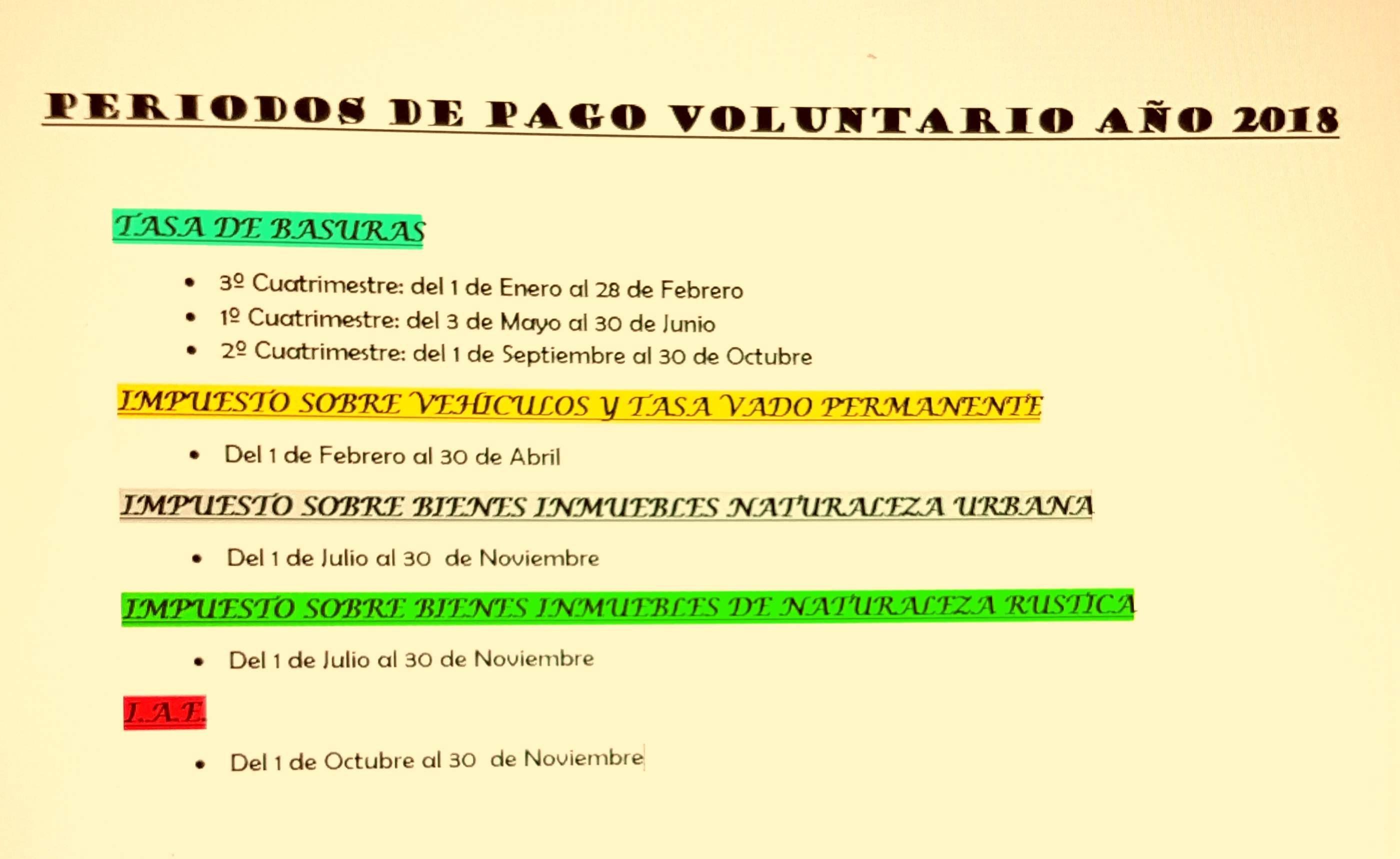 """HORARIO DE LA OFICINA DE RECAUDACI""""N Y PERIODOS DE PAGO VOLUNTARIO 2018"""