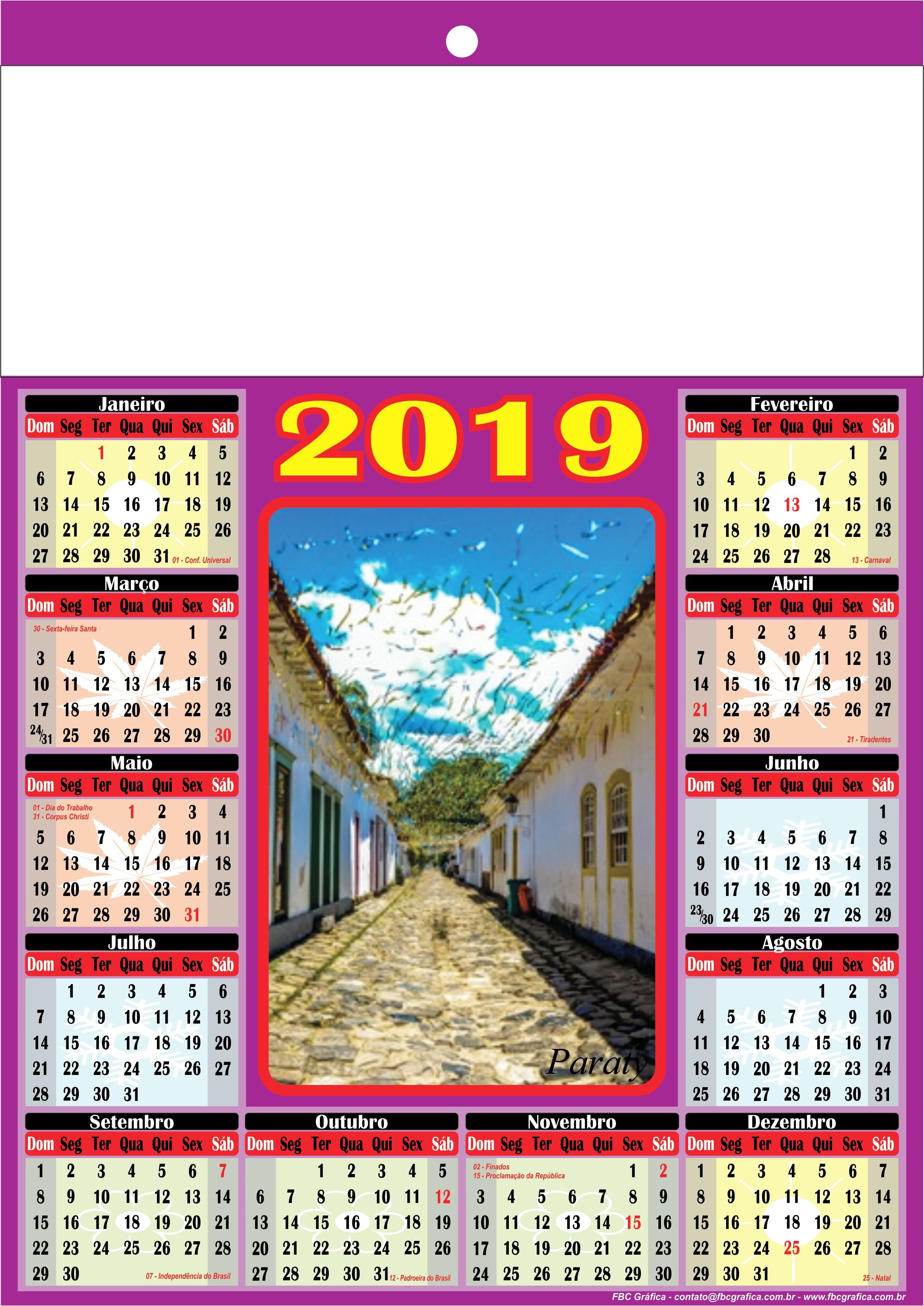 Calendários e Folhinhas de Parede