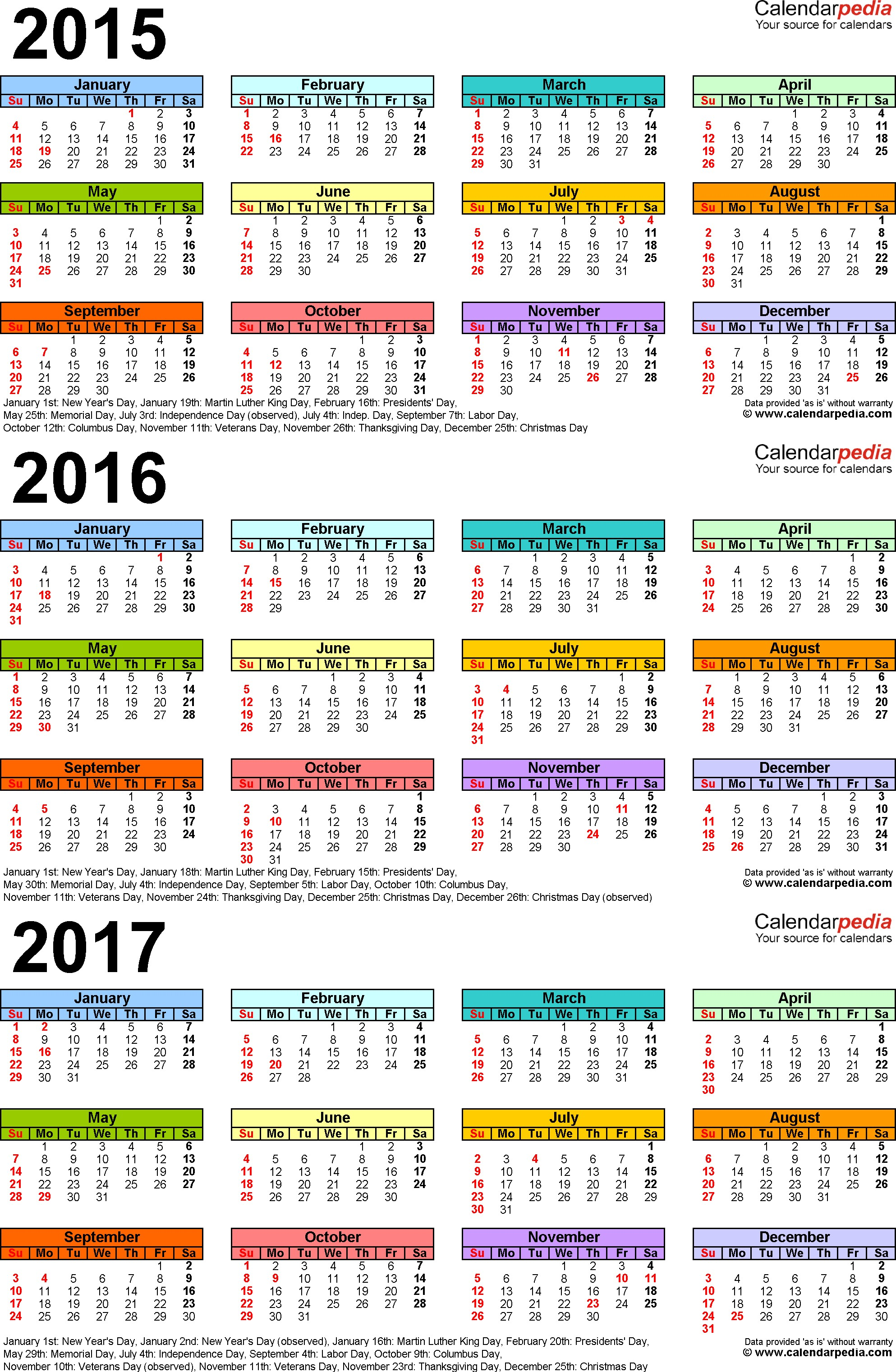 Template 3 PDF template for three year calendar 2015 2017 portrait orientation