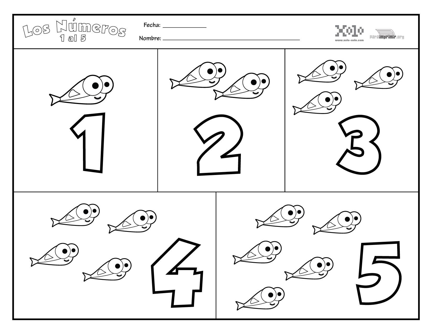 Nºmeros para imprimir del 1 al 5 Encantador Dibujos Para Colorear Para Ni±os Pdf