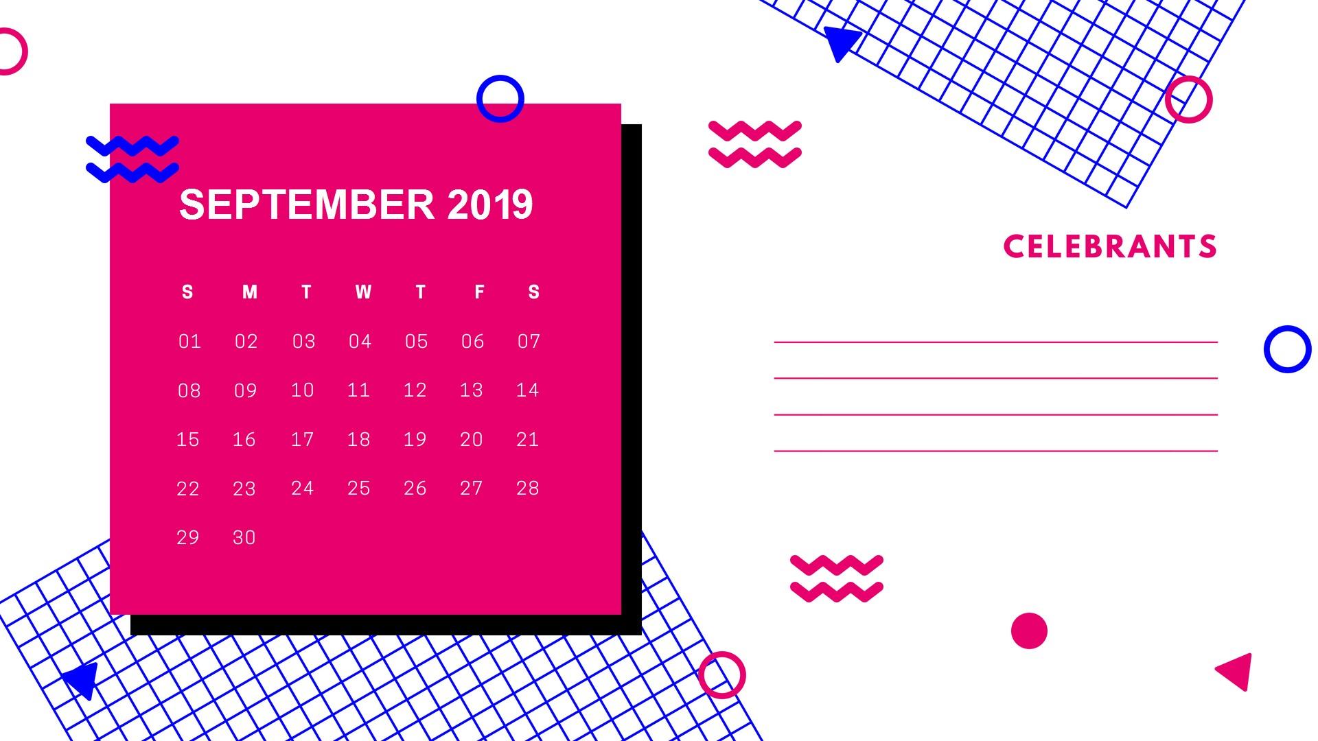 Stylish 2019 September Calendar 2019calendar PrintableCalendar