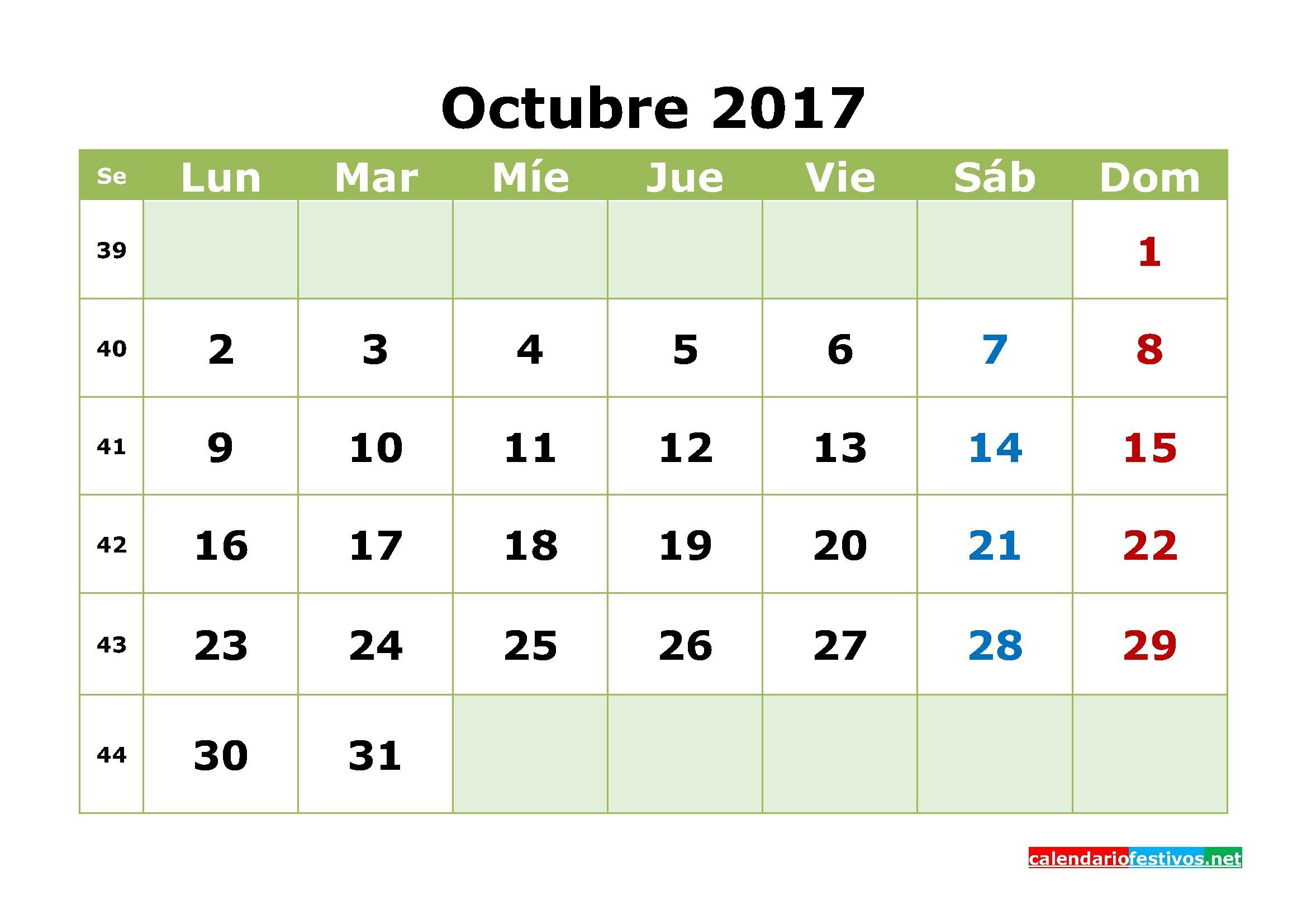 Calendario Octubre 2017 para imprimir calendario mensual 2017 gratis en formato de PDF et Imagen
