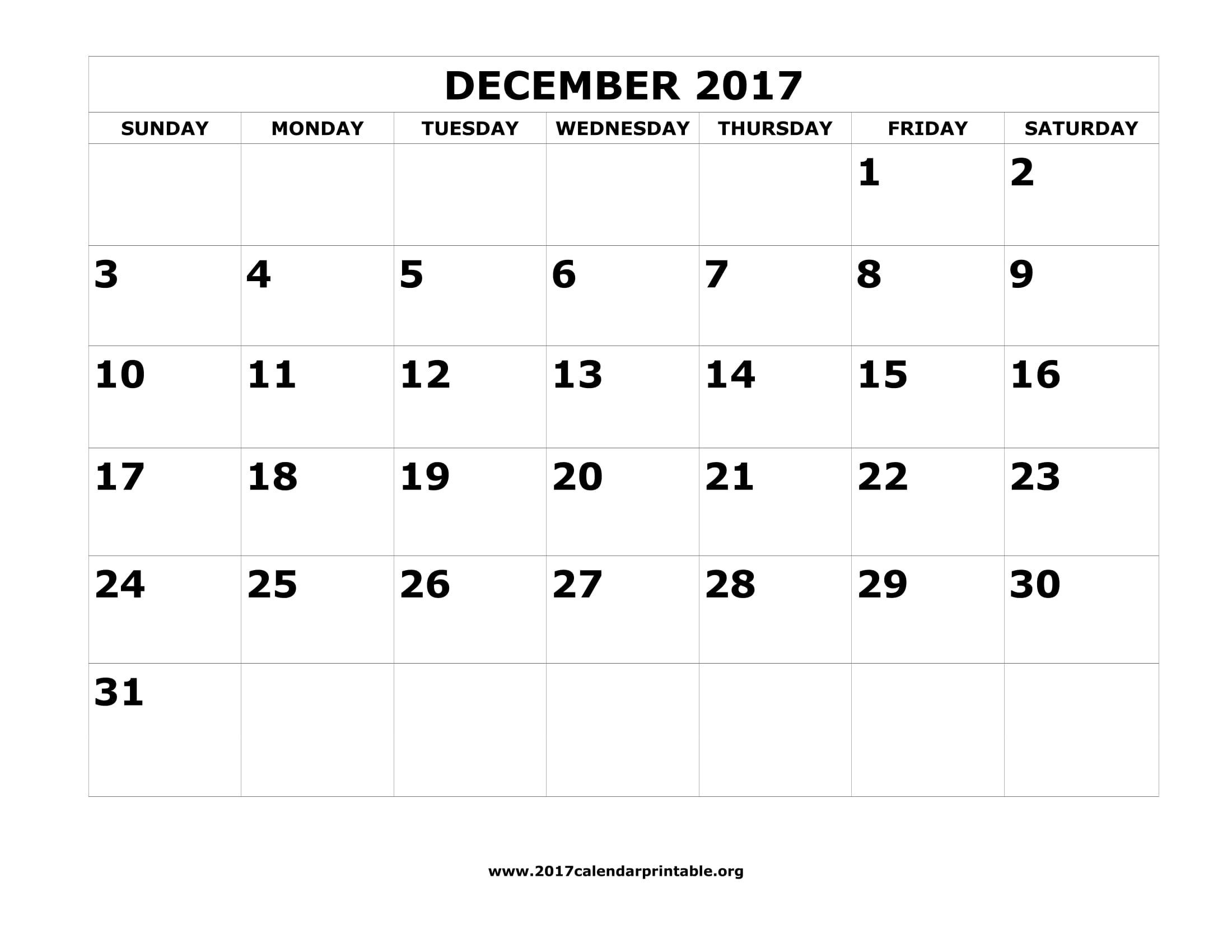 Download December 2017 Calendar Printable with federal holidays and week number as MS Word PDF and JPG in US letter paper format