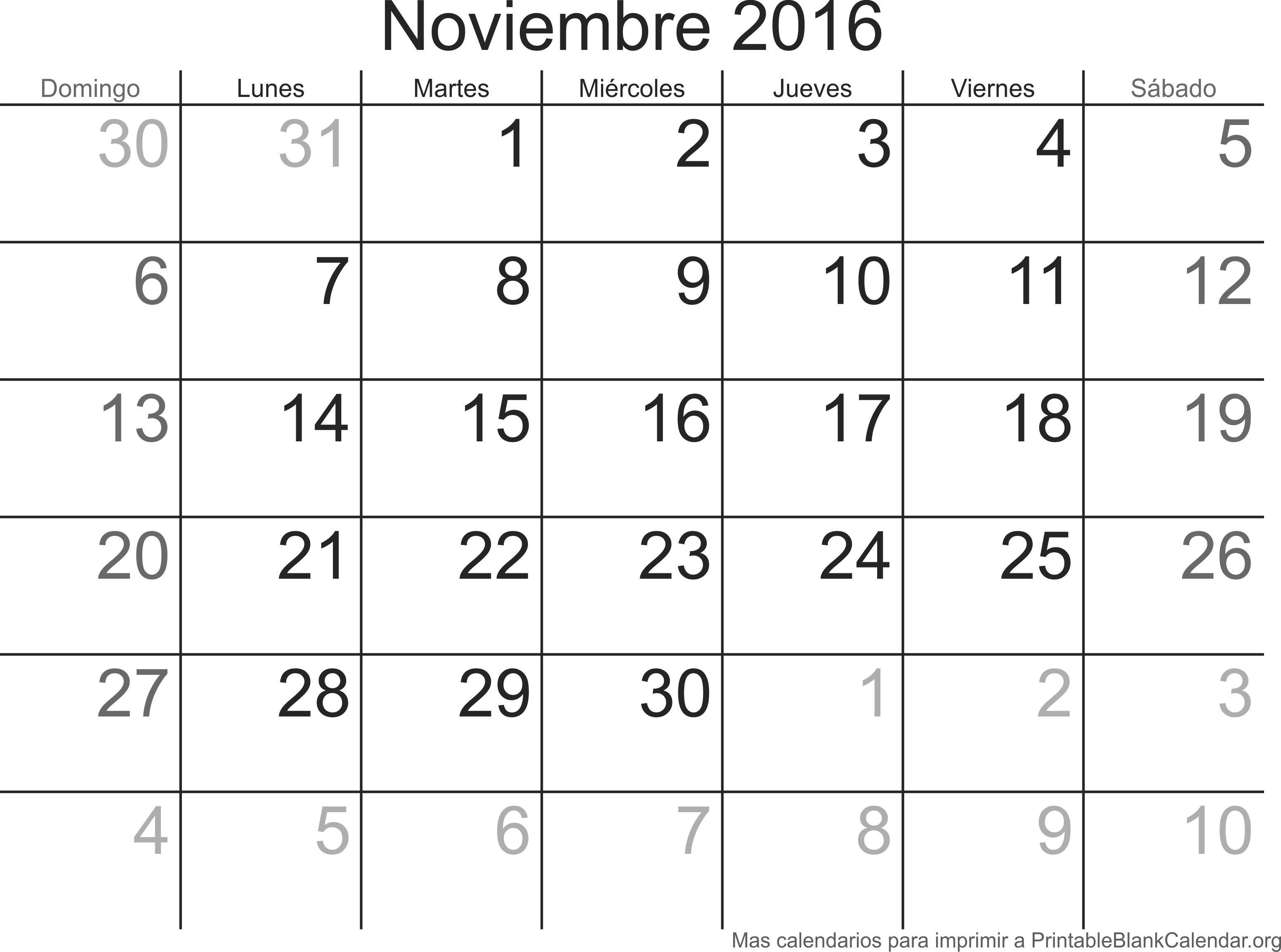 Calendario Imprimir Meses Actual Noviembre 2016