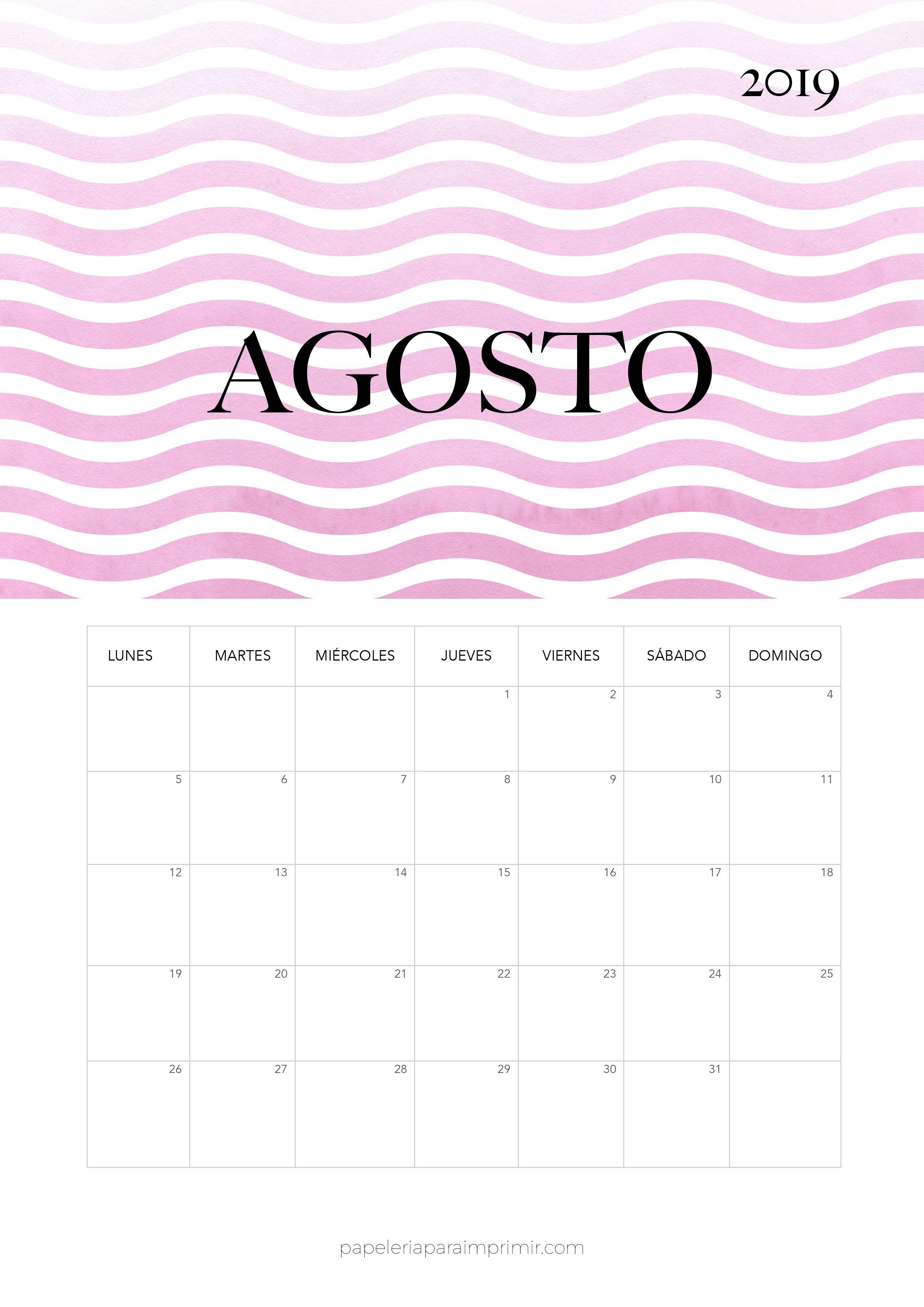 Calendario 2019 Agosto Calendario mensual moderno de estilo minimal