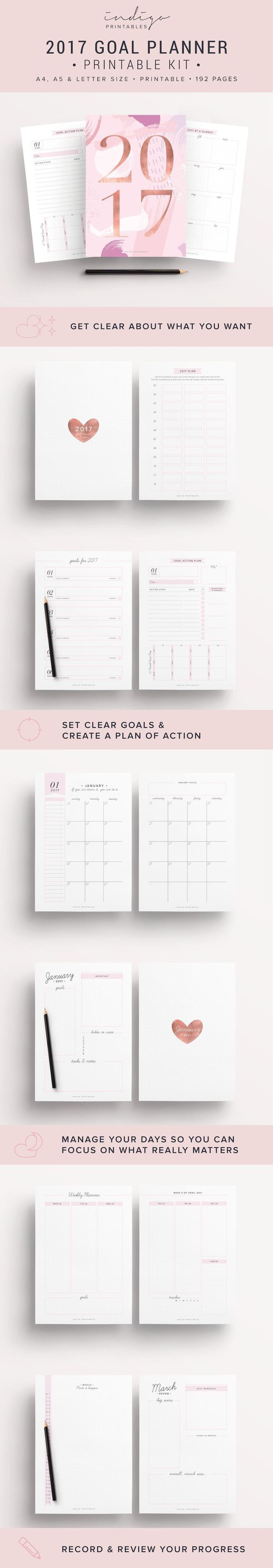 2017 Planner Goal Planner Monthly Planner 2017 Weekly Planner 2017 Success Planner