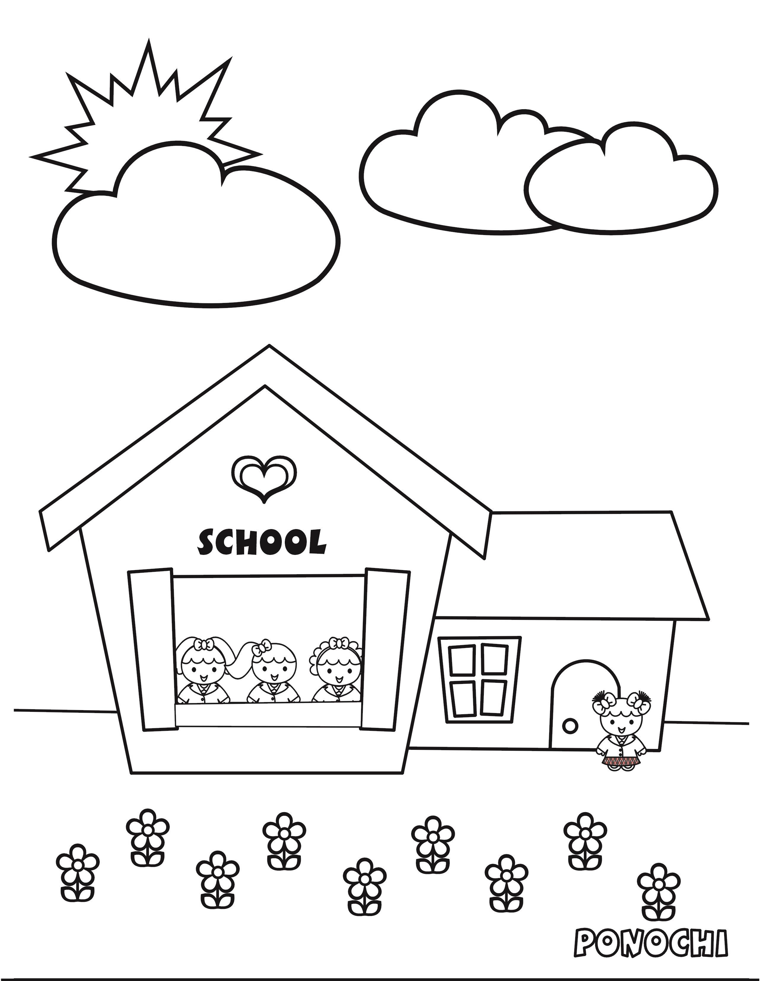 School Print Coloring Pages Colouring In