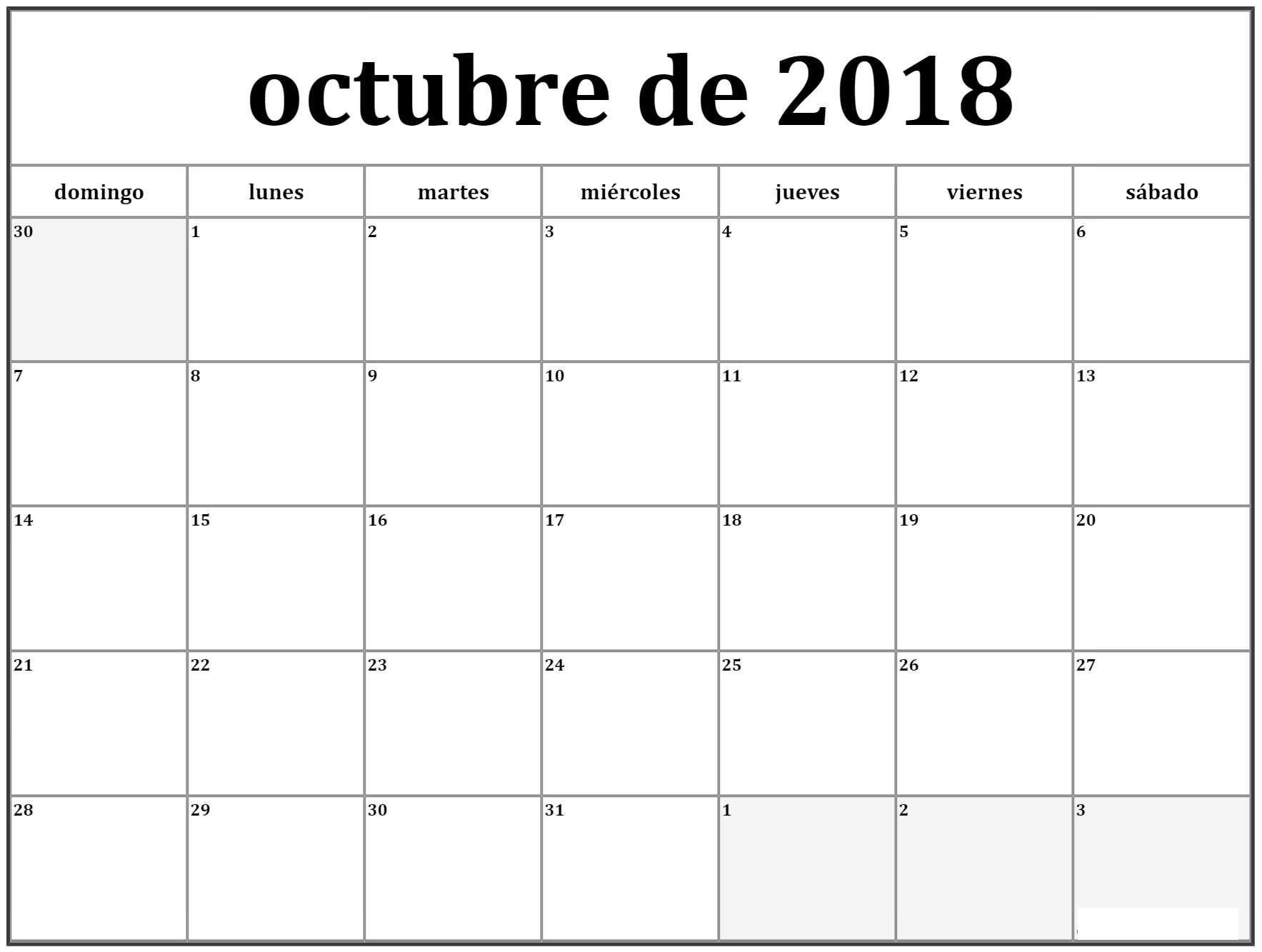 Octubre Calendario 2018 Argentina Excel