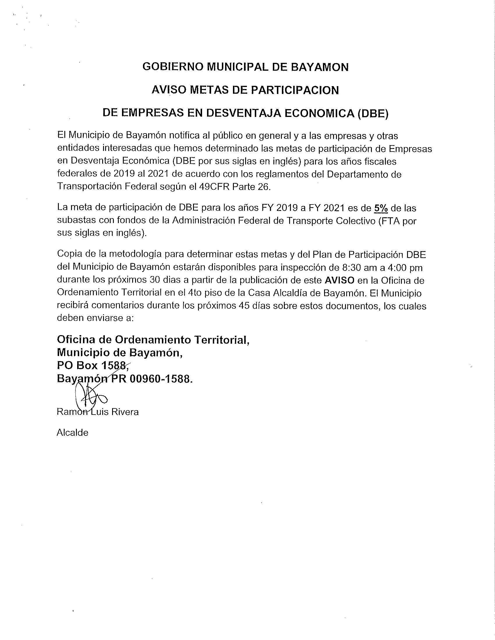 Aviso Metas de Participaci³n en Desventaja Eco³mica DBE Avisos Pºblicos Ciudad de Bayam³n de calendario marzo abril mayo 2019 para imprimir