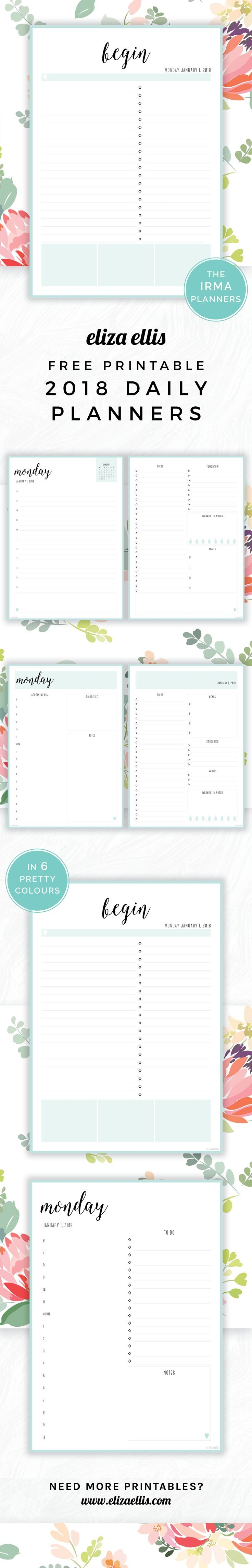 Free Printable 2018 Irma Daily Planners in Sea Eliza Ellis Awesome 2018 daily planners and diaries that are absolutely free print to A4 or A5 and