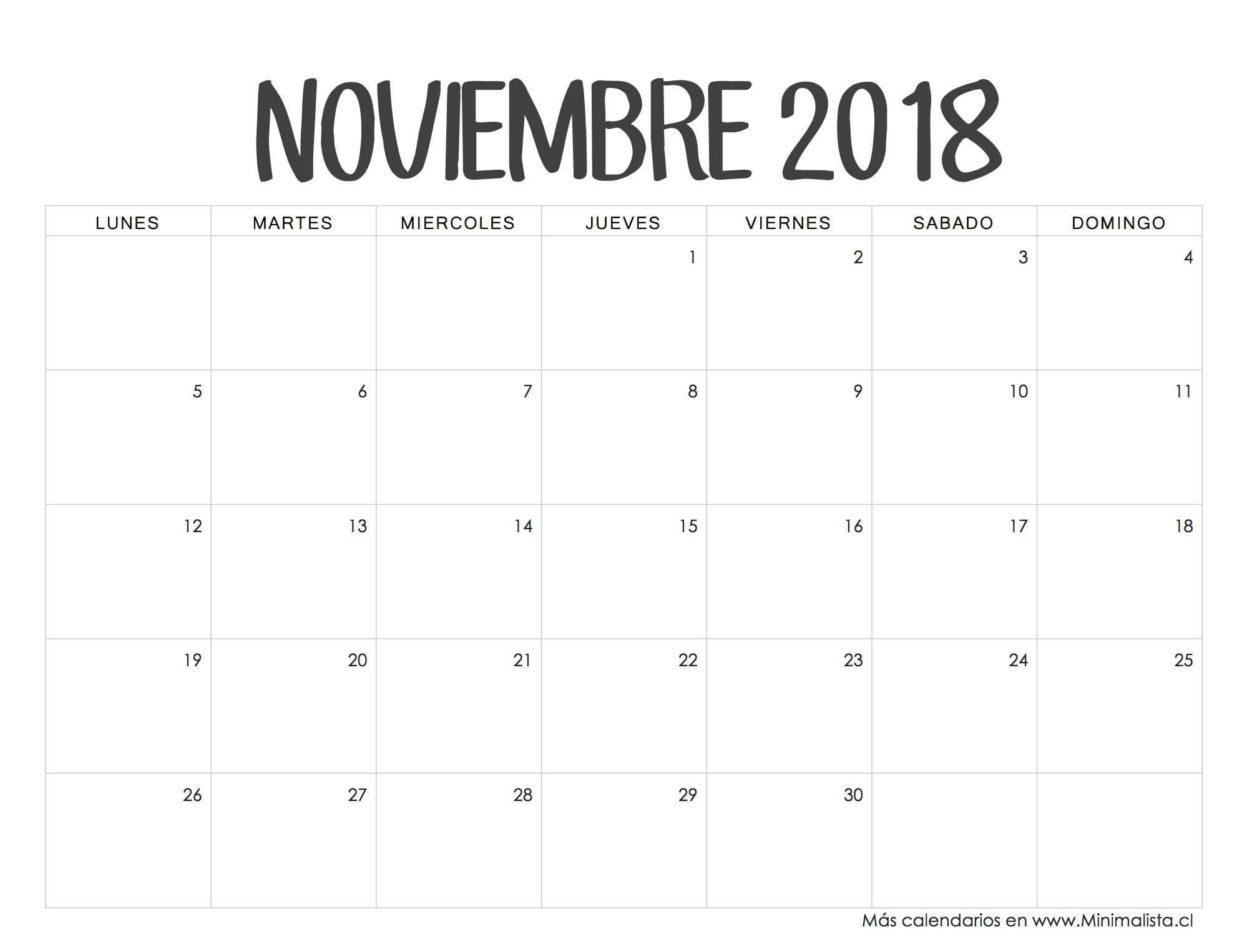 Calendario Noviembre 2018 fondos