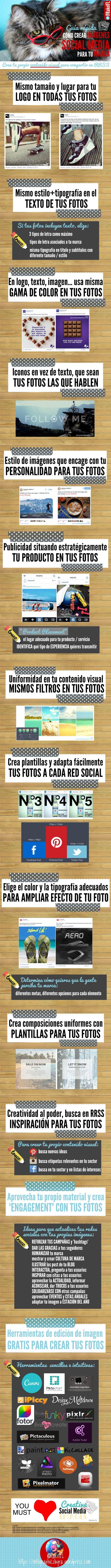 Hola Una infografa sobre Imágenes social media gua rápida de contenido visual para tu