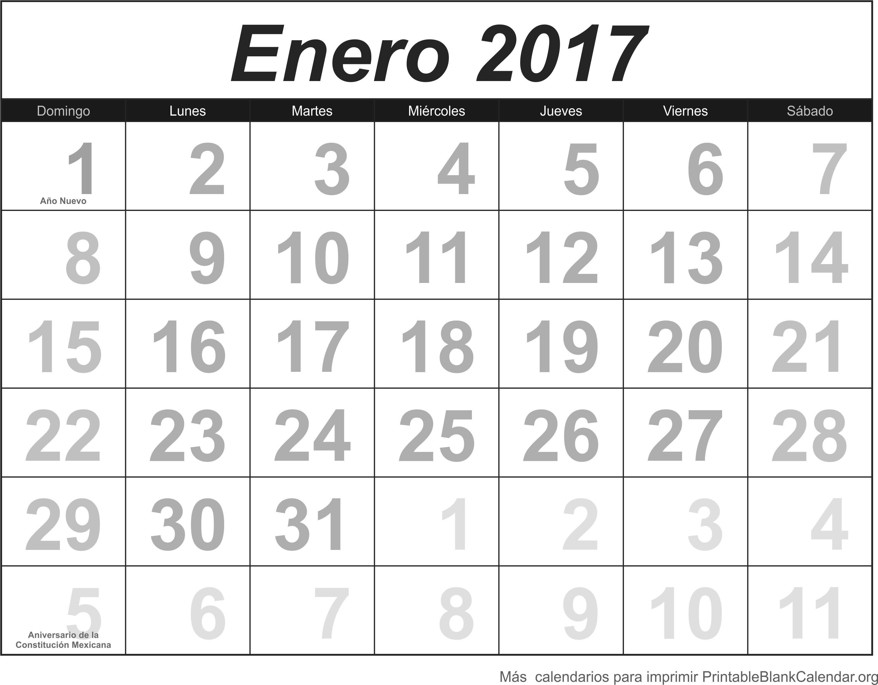 Enero 2017 Calendario Para Imprimir Calendarios Para