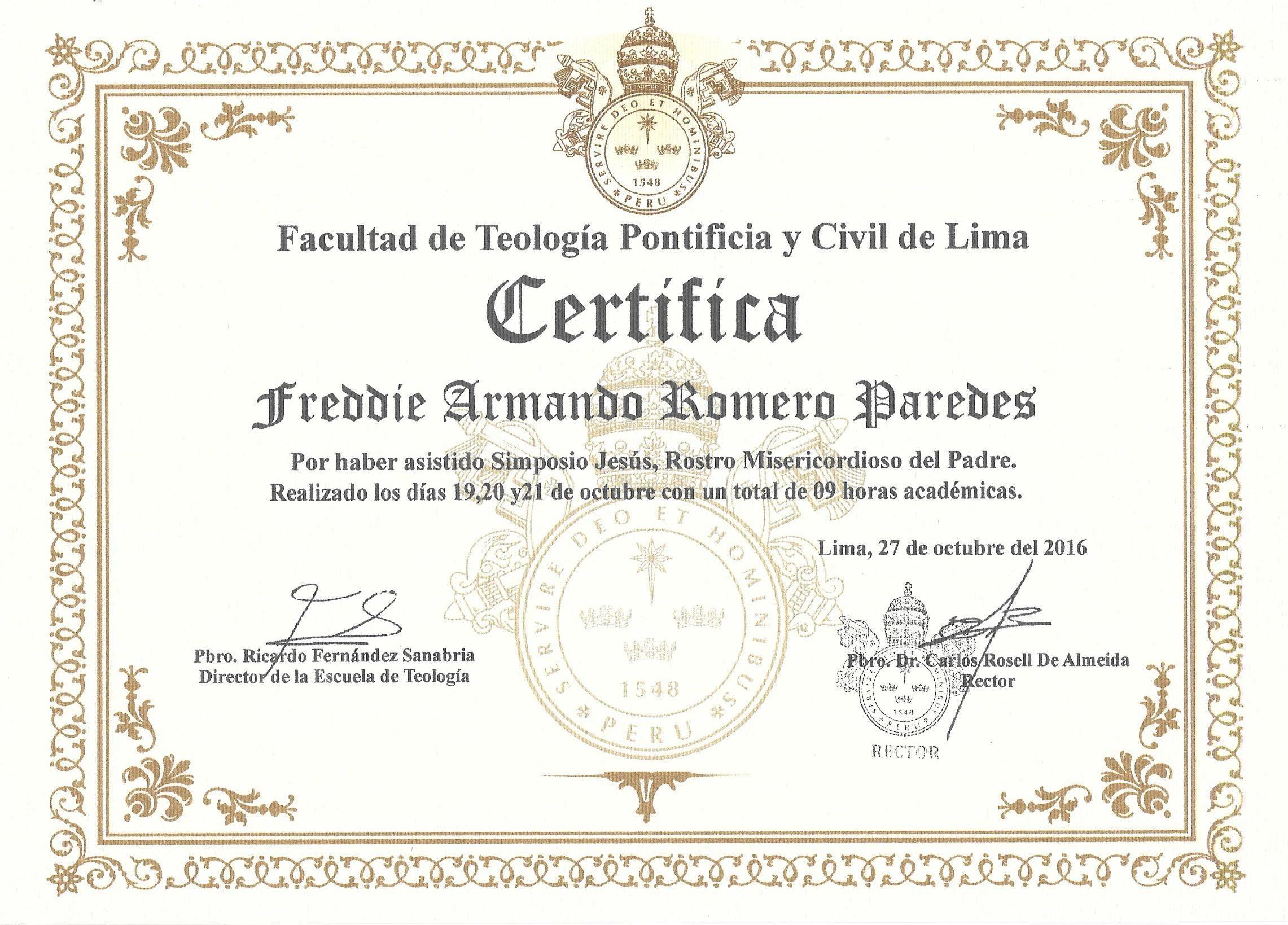 """Certificado Simposio """"Jesºs rostro misericordioso del Padre"""" de la Facultad de Teologa Pontificia y Civil de Lima"""