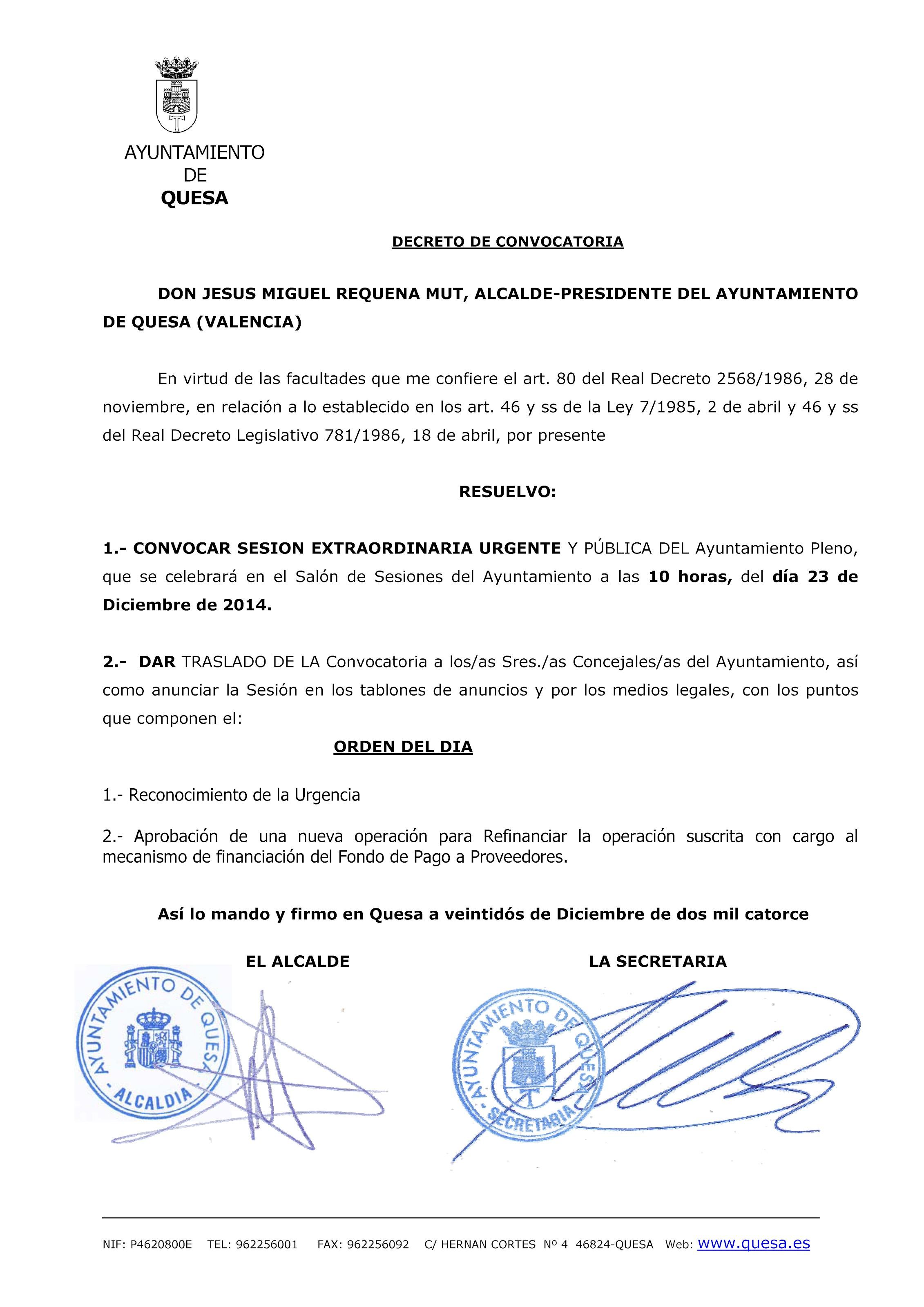Pleno Extraordinario y Urgente Martes da 23 de Diciembre de 2014