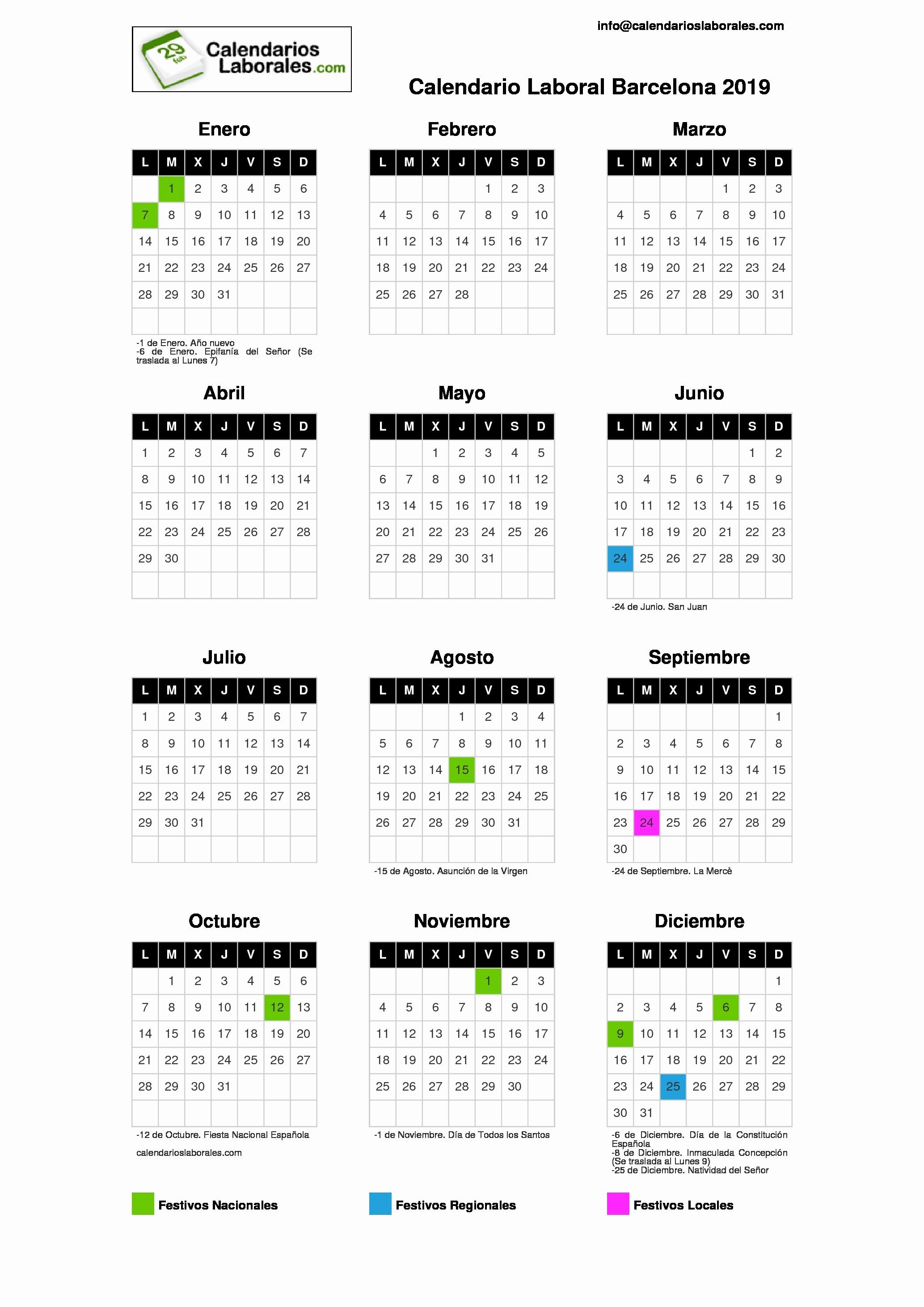 Calendario Laboral 2019 Barcelona 2019 Calendario Laboral Barcelona 2019