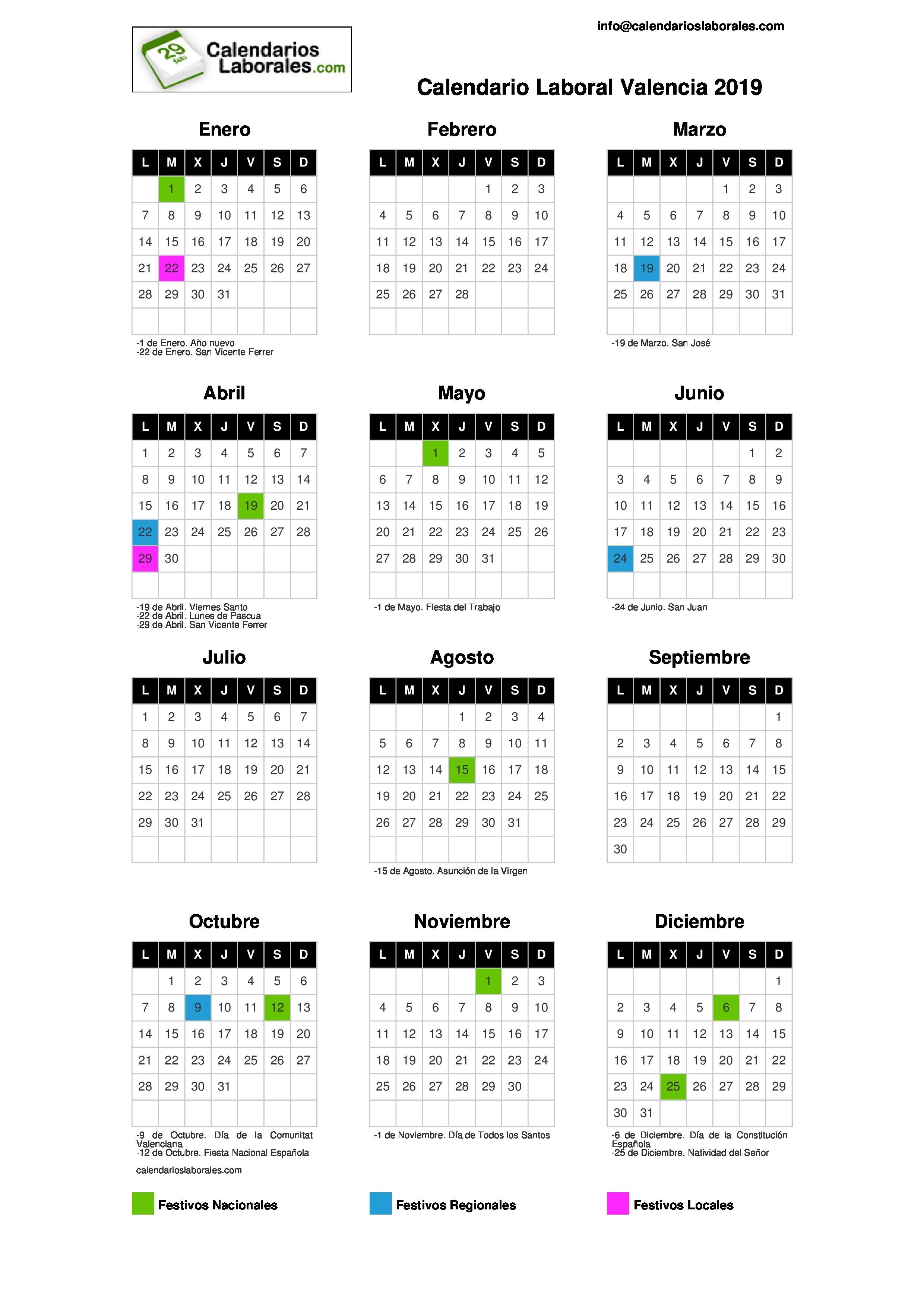 Calendario Laboral Valencia 2019 CALENDARIO