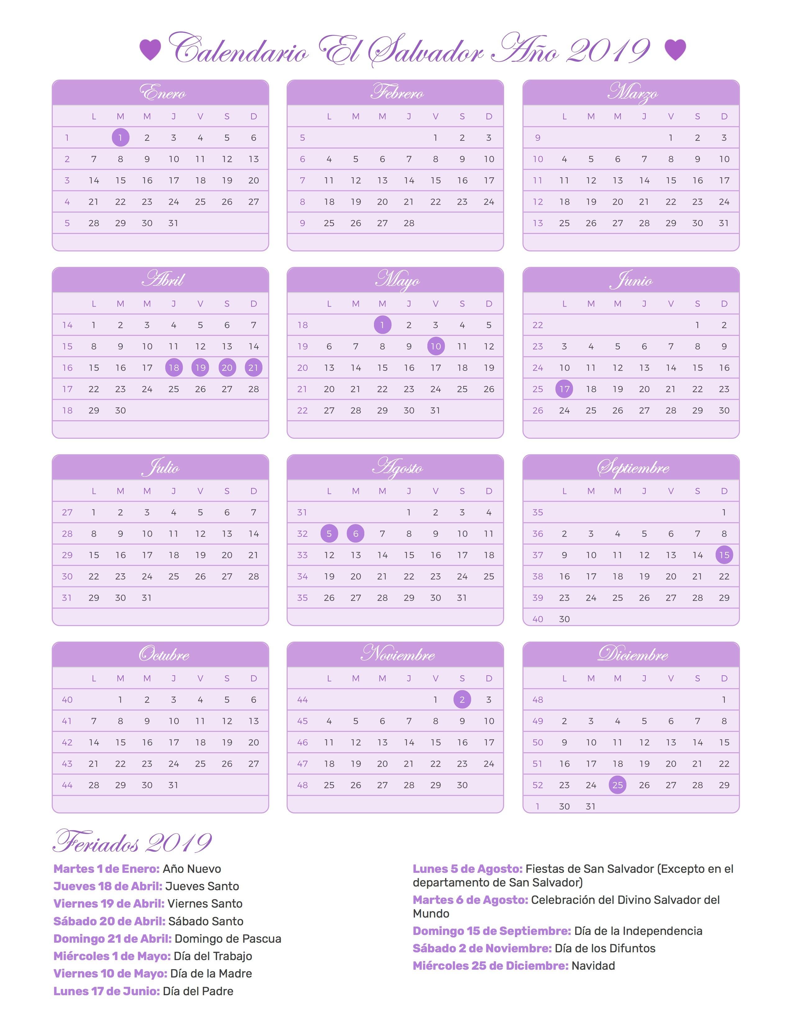 Calendario para imprimir de el salvador con feriados 2550x3300 Festivos 2019 calendario liturgico catolico