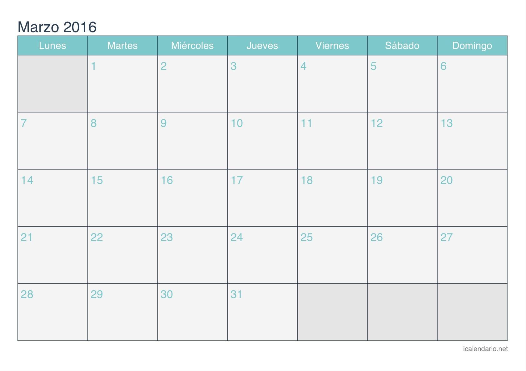 Calendario de marzo 2016 turquesa Calendario de marzo 2016 turquesa