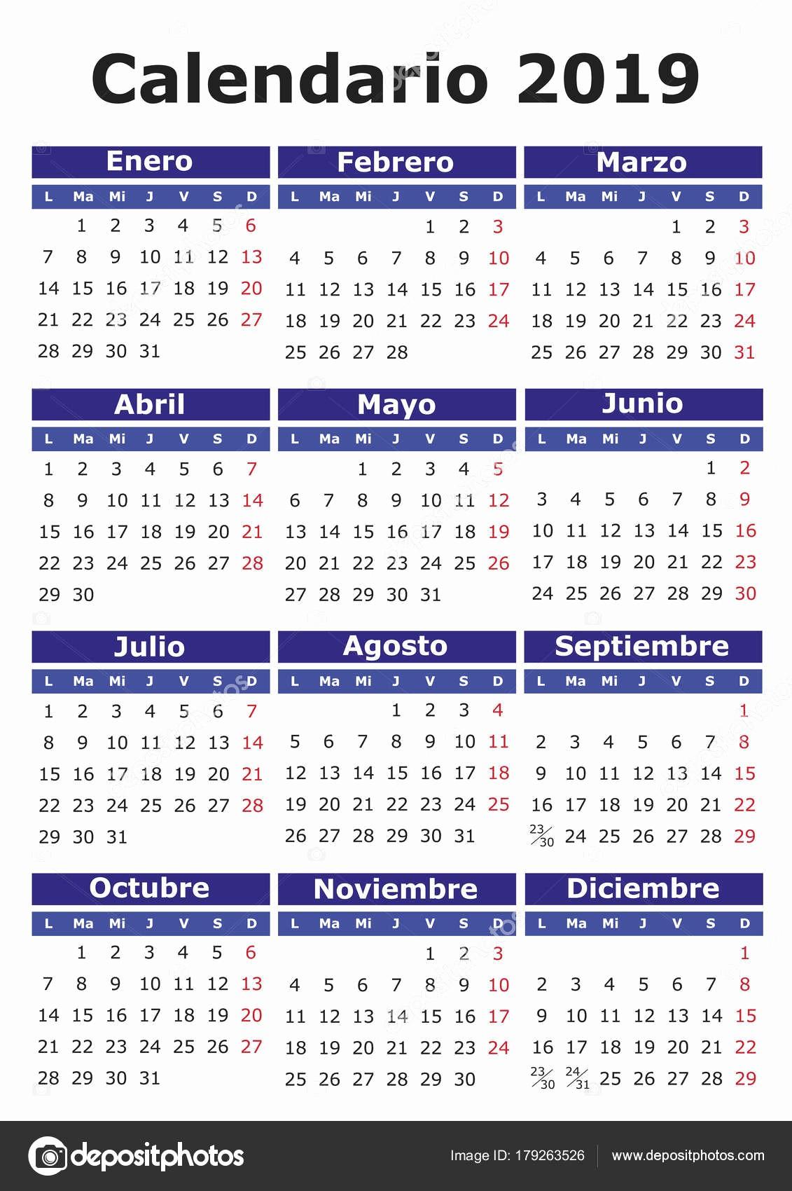 Calendario Cronologico 2019 Espanhol Calendario 2019 Vetores De Stock