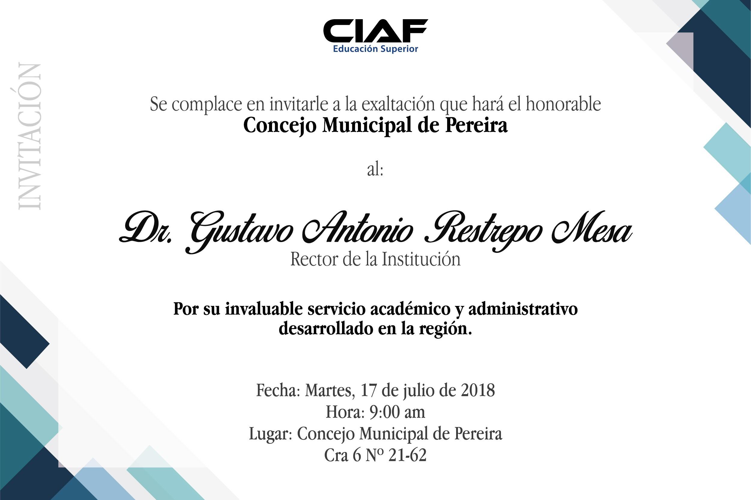 Concejo de Pereira exalta la labor del rector Gustavo A Restrepo Mesa