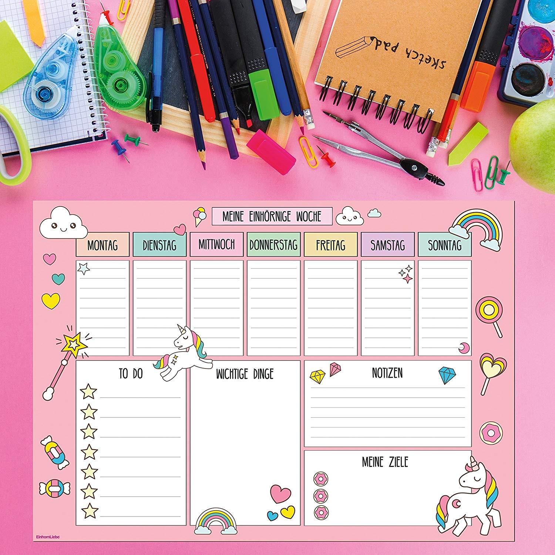 Tapete de escritorio tama±o grande DIN A2 dise±o de unicornio con calendario semanal hojas fáciles de arrancar para ni±os y adultos idioma espa±ol no
