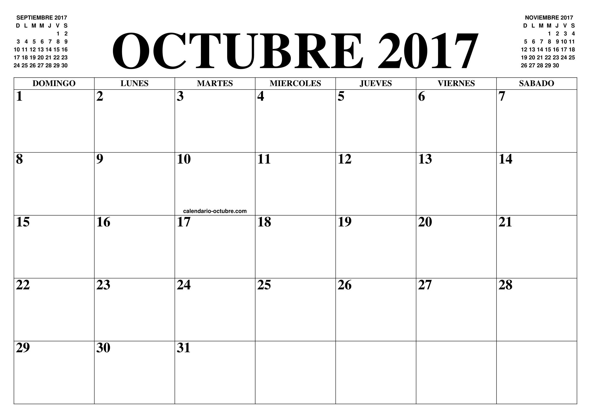 calendario octubre 2017 el calendario octubre para imprimir gratis mes y ano agenda Mrwonderful descargable gratis calendario septiembre 2015 ordenador