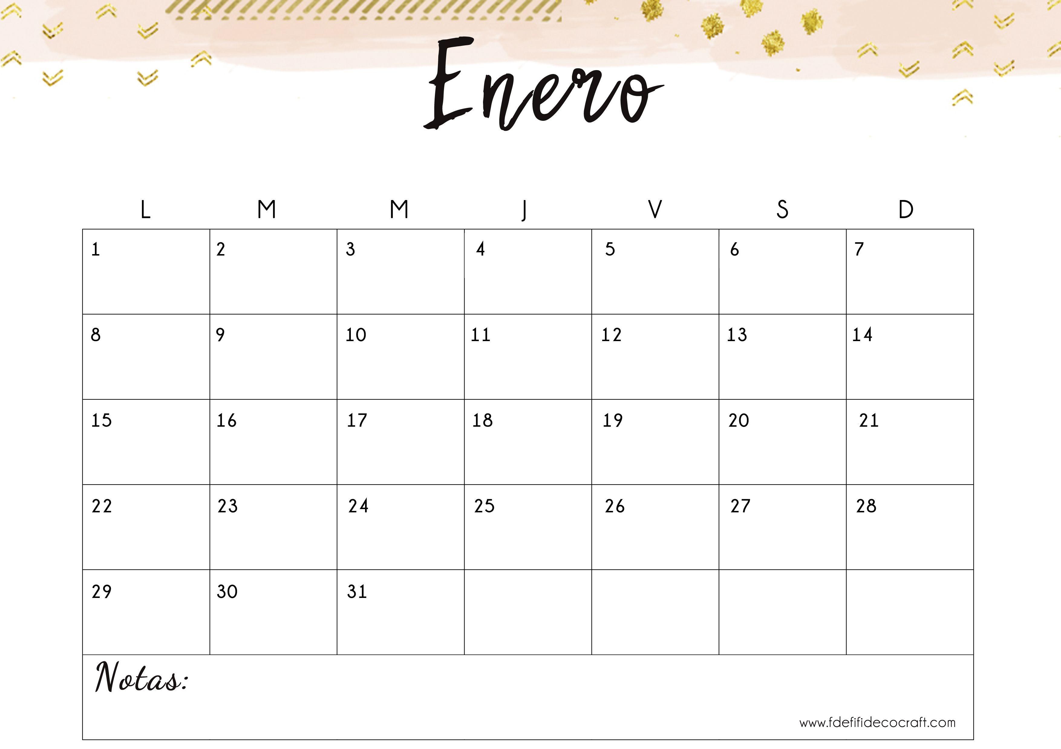 Calendario enero 2018 para imprimir imprimir gratis Imprimible Descargable