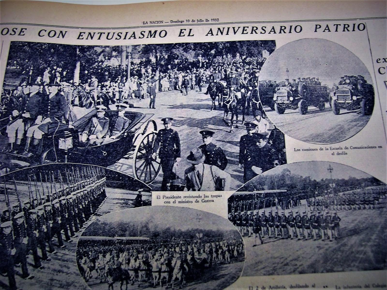"""LA NACI""""N 9 DE JULIO DE 1932 DESFILE MILITAR PATRIO CON ESTE EJéRCITO SE FORMARON LOS SOLDADOS QUE HEROICAMENTE NOS DEFENDIERON"""