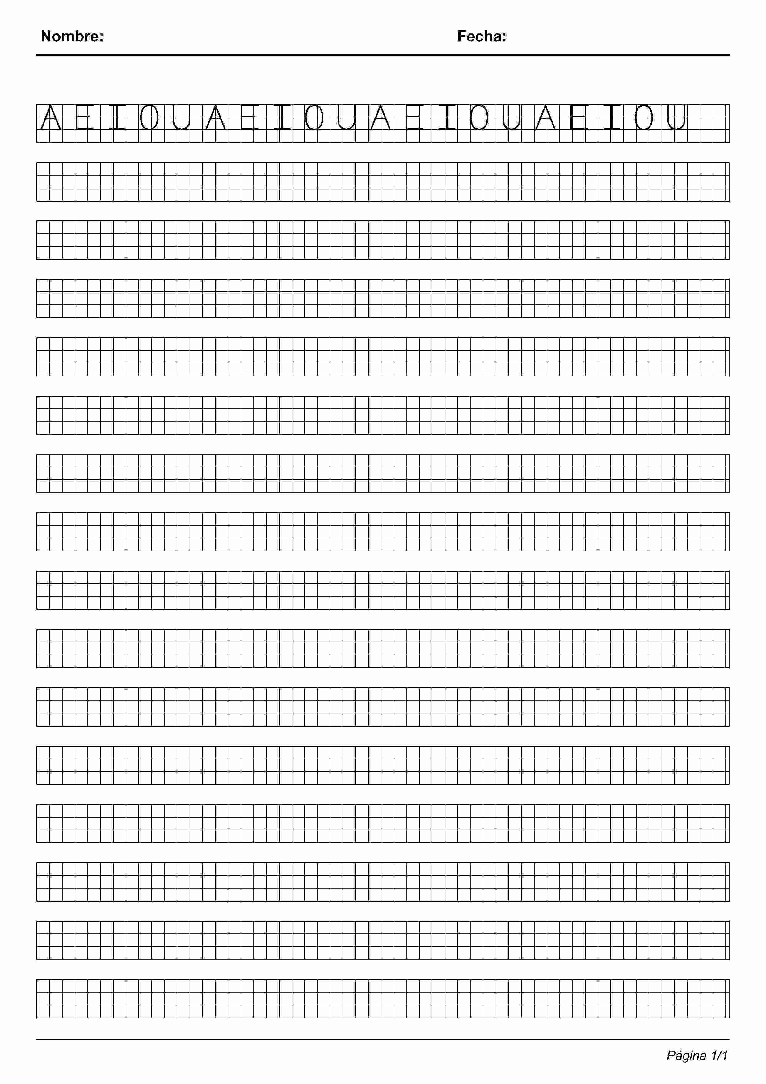 Actividades para ni±os preescolar primaria e inicial Imprimir fichas de caligrafia en cuadricula para ni±os de preescolar y primaria