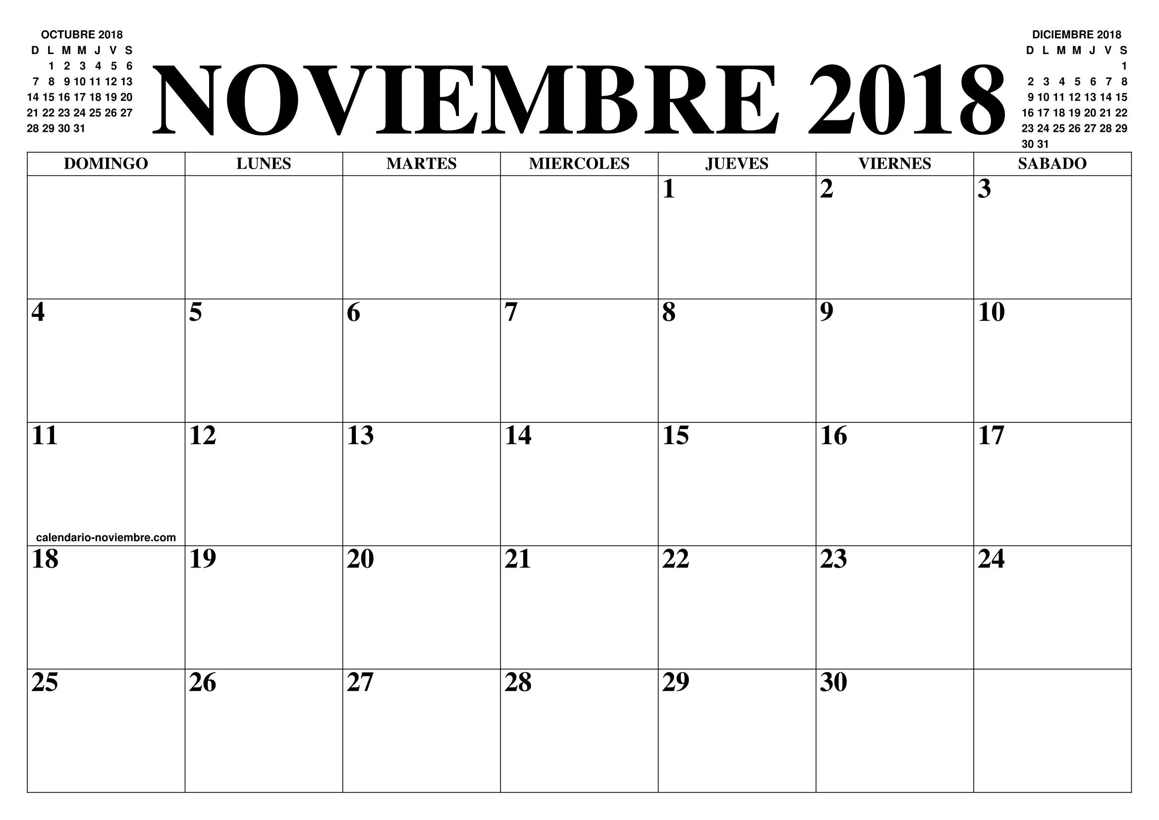 Calendario 2018 Noviembre de 2018