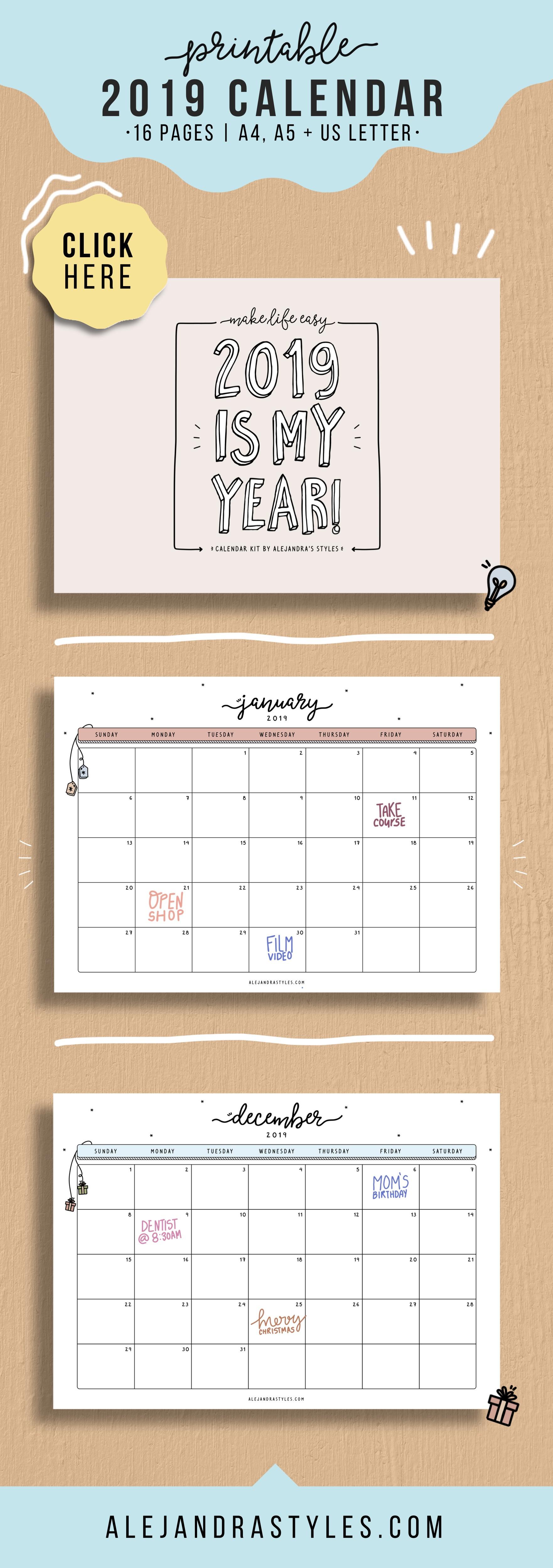 2019 Calendar Printable Planner for Desk or Wall