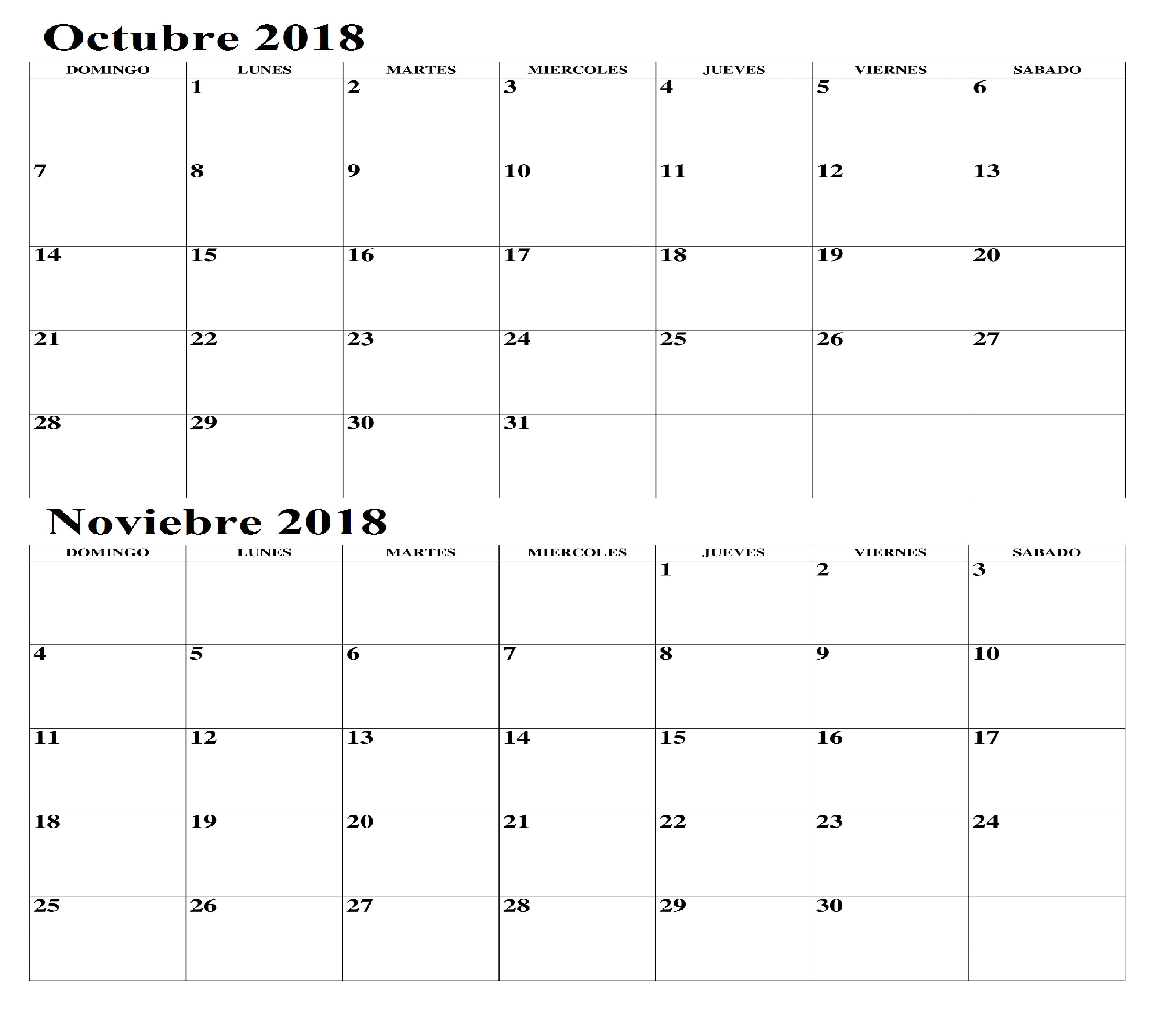 en Blanco Noviembre 2018 Calendario Octubre Noviembre 2018