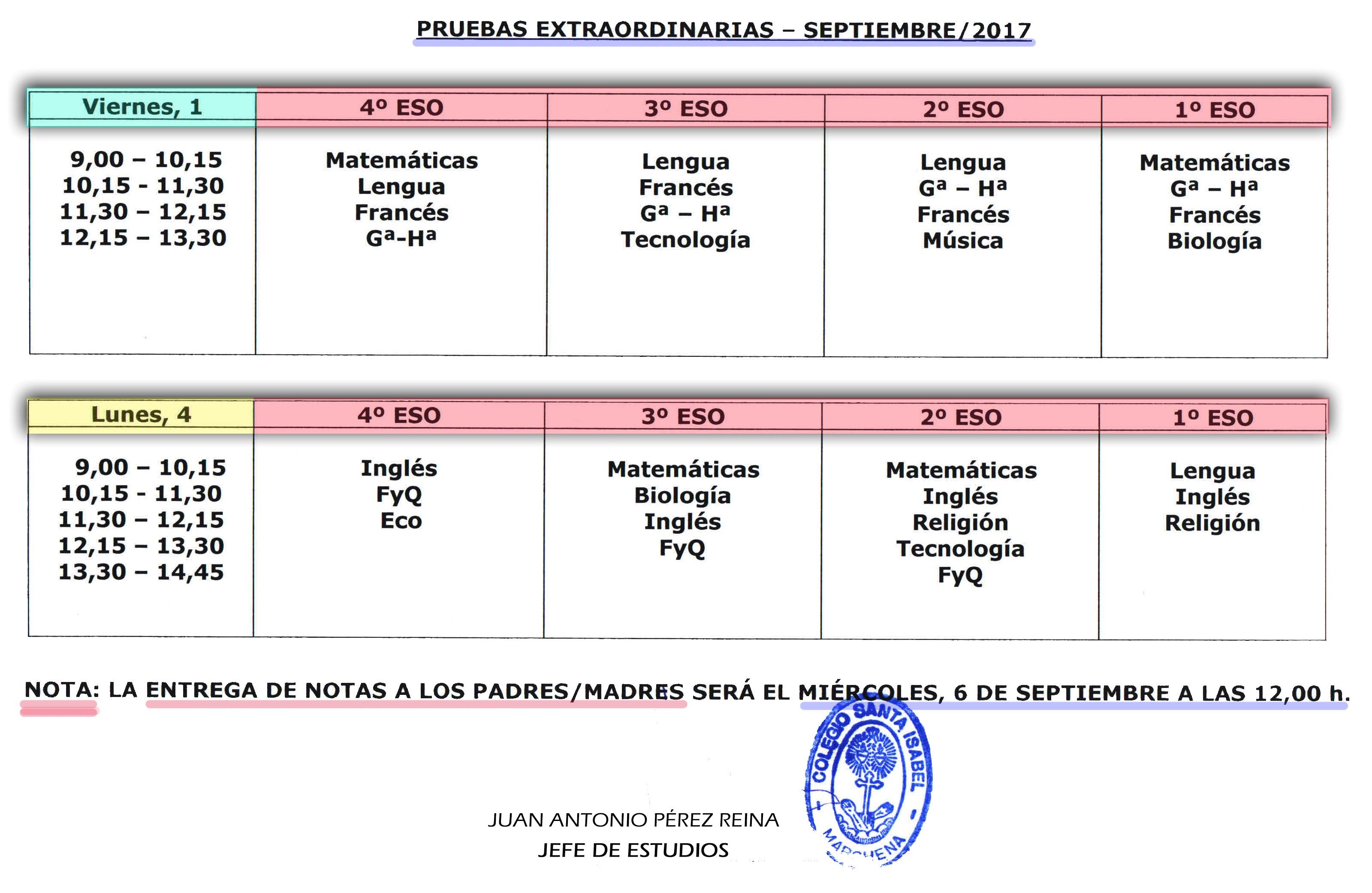 Calendario de Pruebas extraordinarias Septiembre 2017
