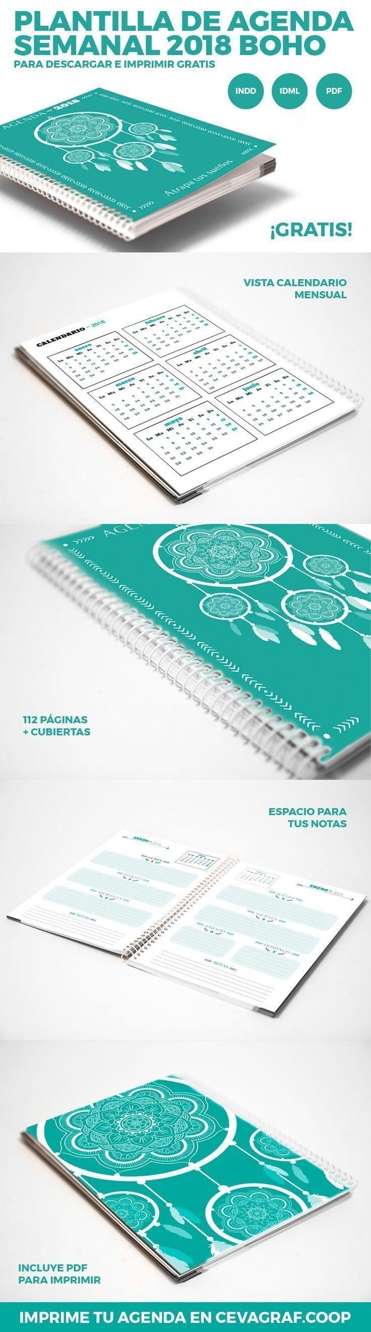 Plantilla de agenda semanal 2018 boho para InDesign ml y dd de Agenda Semanal 2018 Boho 3 Pinterest de calendario imprimir 2017