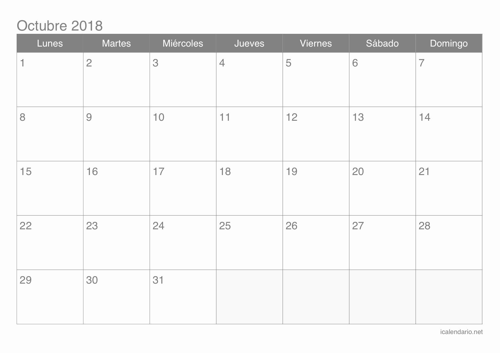 Calendario Octubre 2019 Per Imprimir Más Arriba-a-fecha Puente Octubre Calendario 2019 Of Calendario Octubre 2019 Per Imprimir Más Actual Calendario Octubre 2018 organizarme