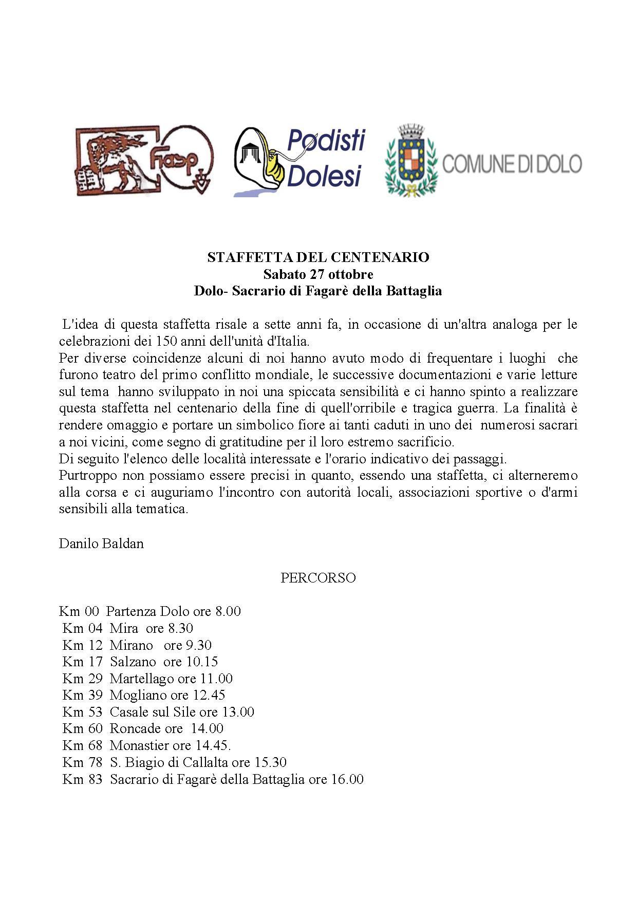 STAFFETTA DEL CENTENARIO DOLO SACRARIO MILITARE DI FAGARE DELLA BATTAGLIA TV