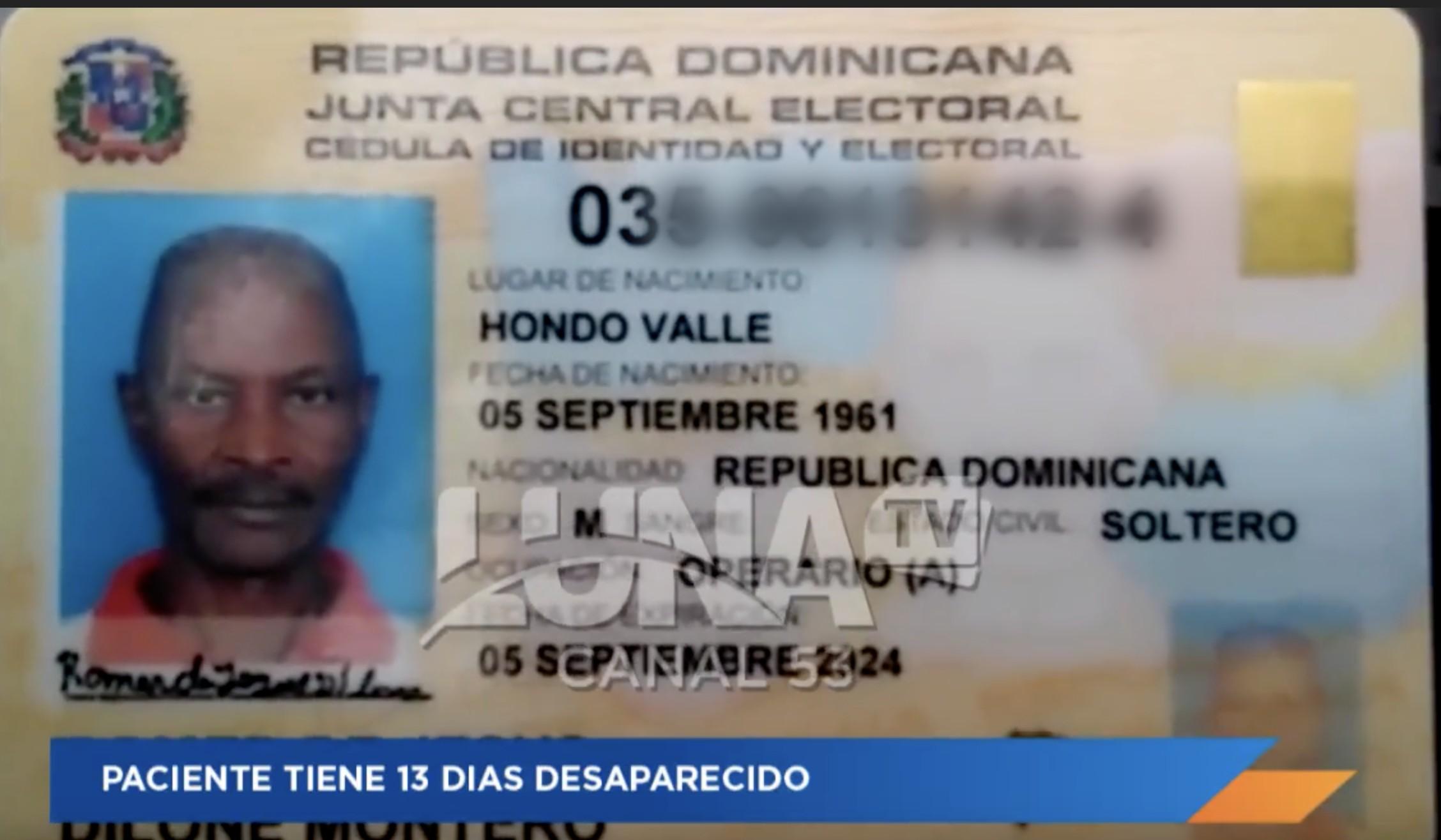 Paciente Lleva 13 Das Desaparecido En El Cabral Y Baez No Aparece