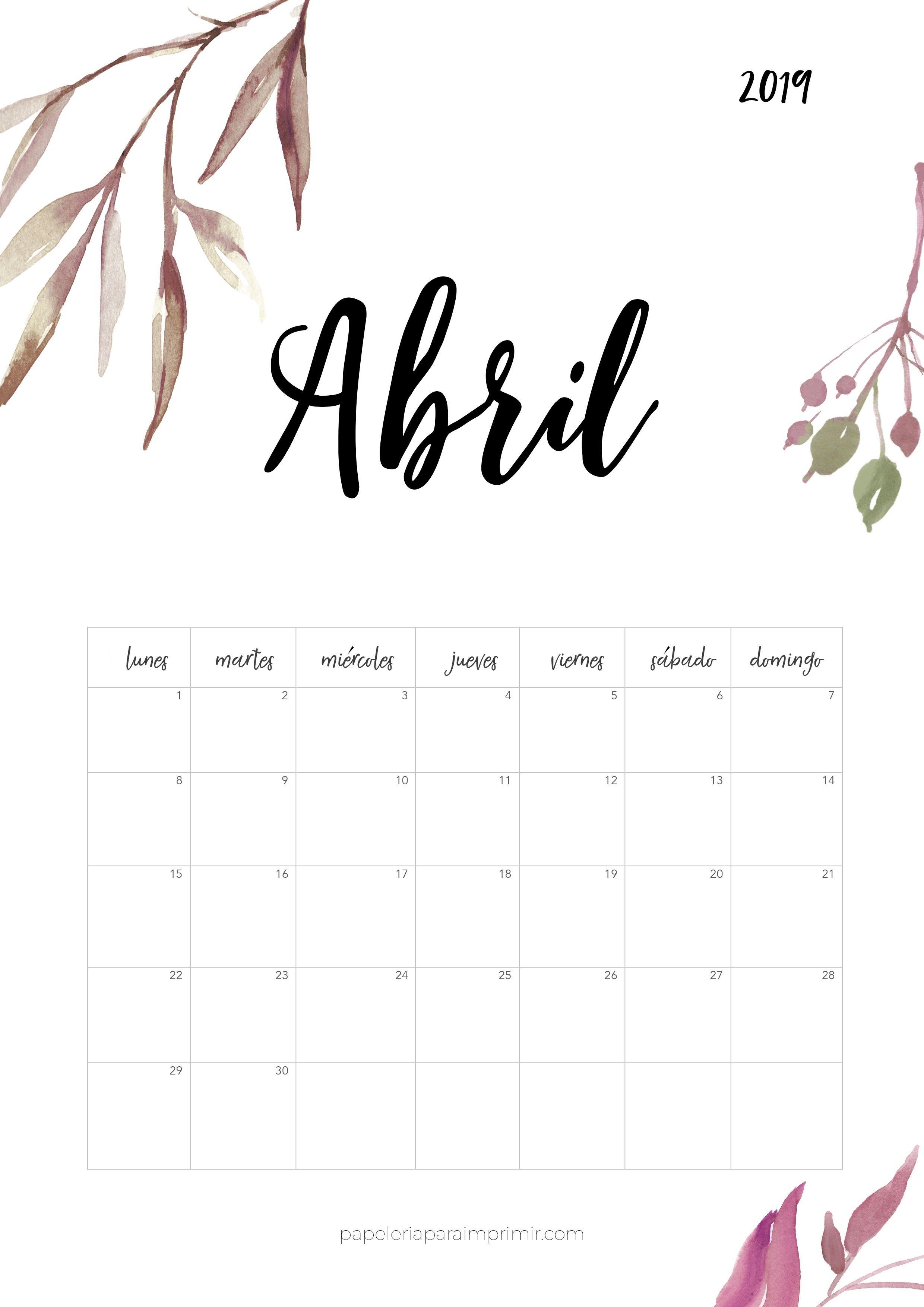 Calendario para imprimir 2019 Abril calendario calendar