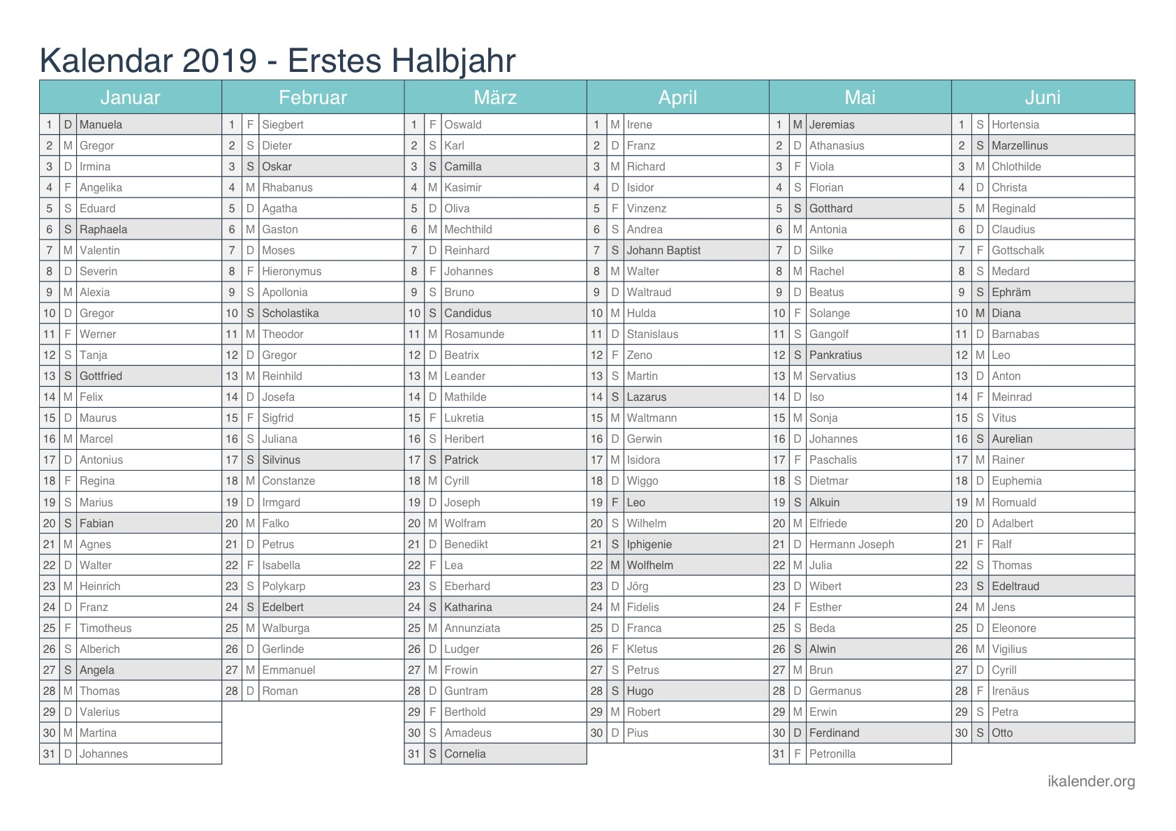Kalender 2019 Zum Ausdrucken Ikalender Org
