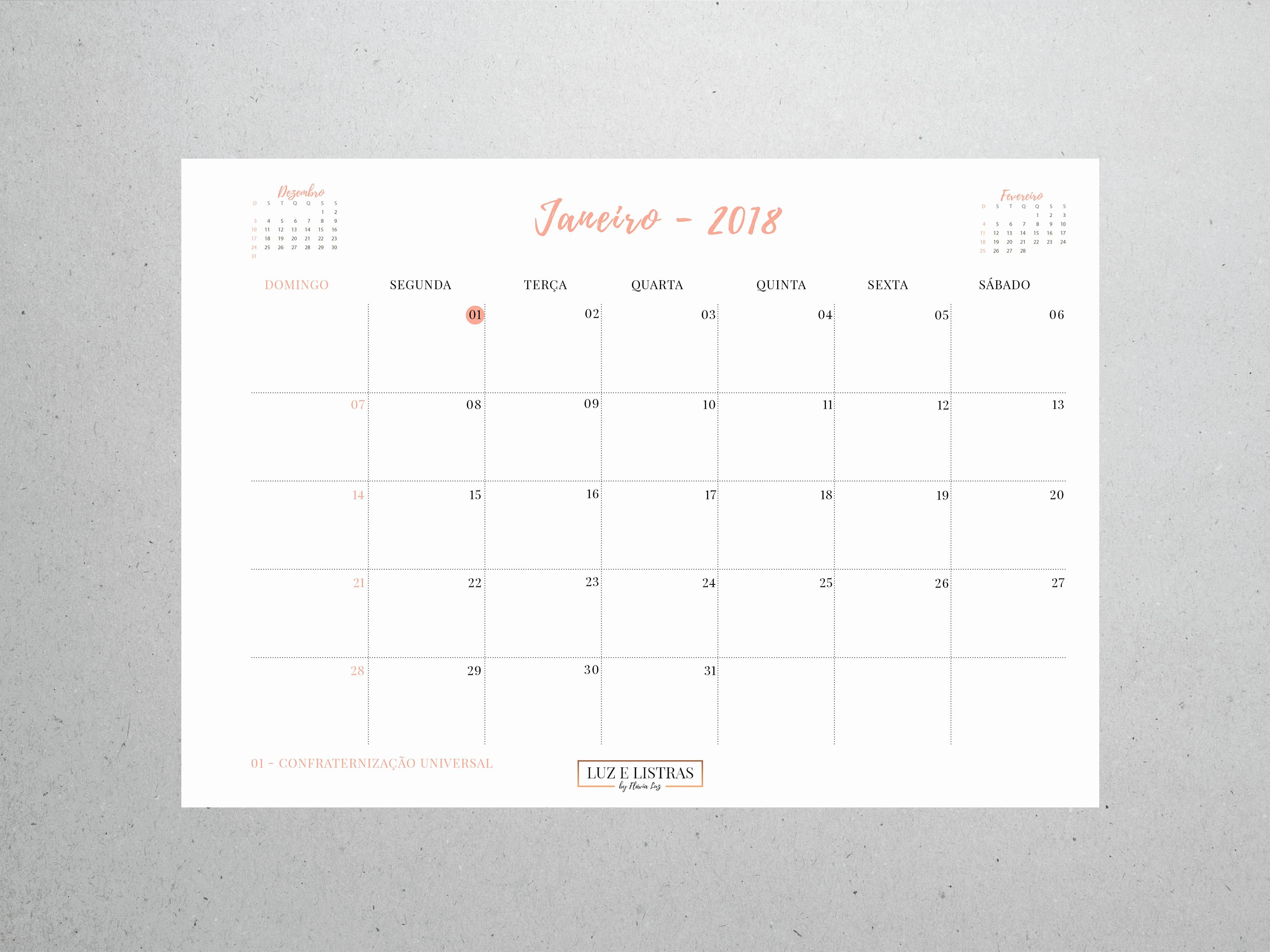 Calendário 2019 Personalizado Para Imprimir Calendario 2019