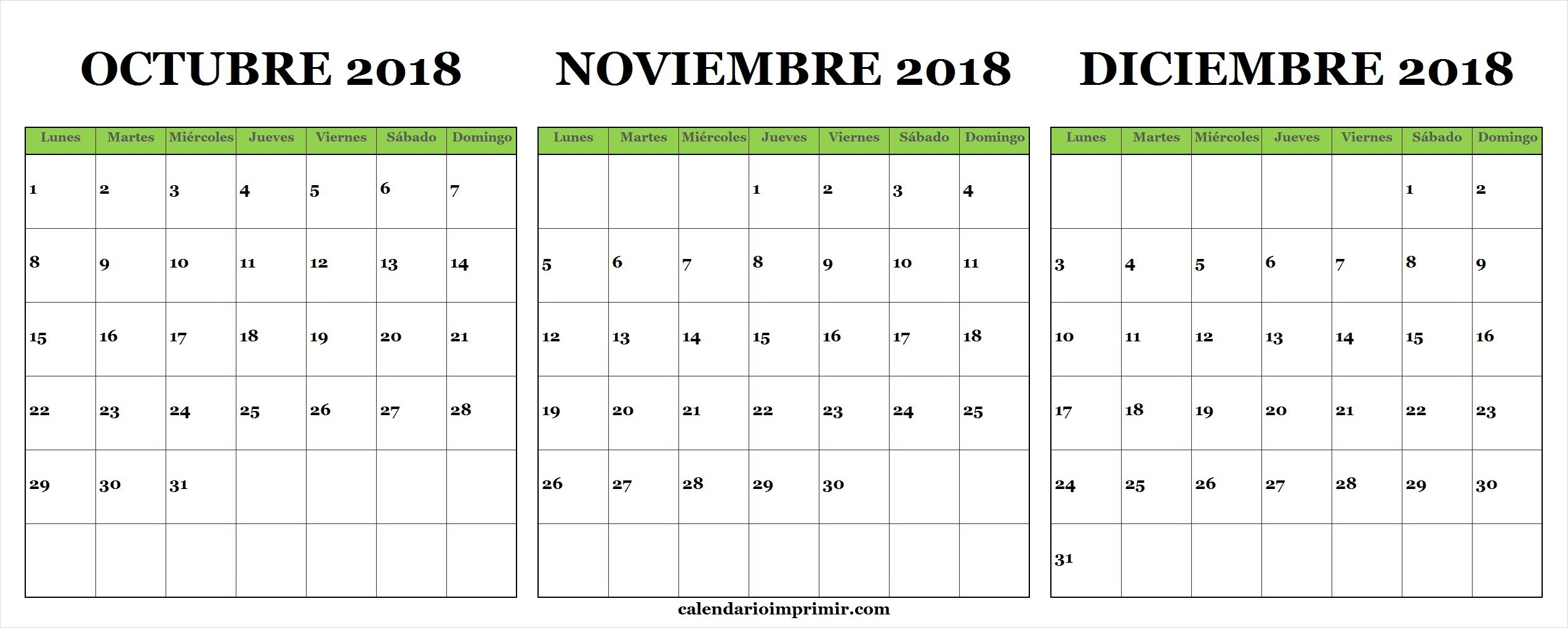 Imprimir Calendario Agosto Septiembre Octubre Noviembre Diciembre 2018 Enero 2019 Chile Calendario De Octubre Noviembre Diciembre De 2018 A Partir Del Lunes