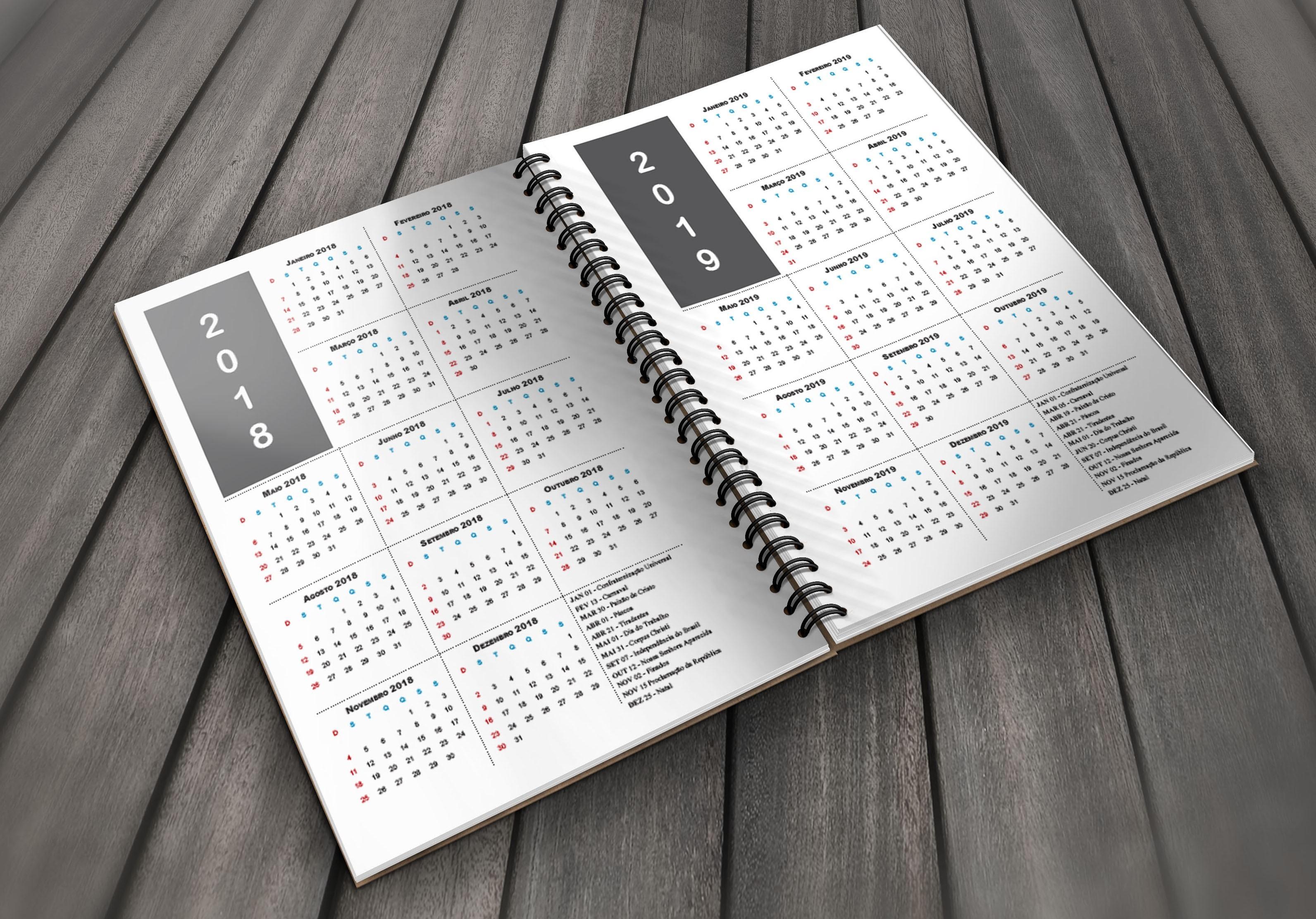 miolo agenda 2018 pdf 1 dia por pagina psd smartobject Miolo Agenda 2018 para Imprimir procedente de calendario de escritorio 2019
