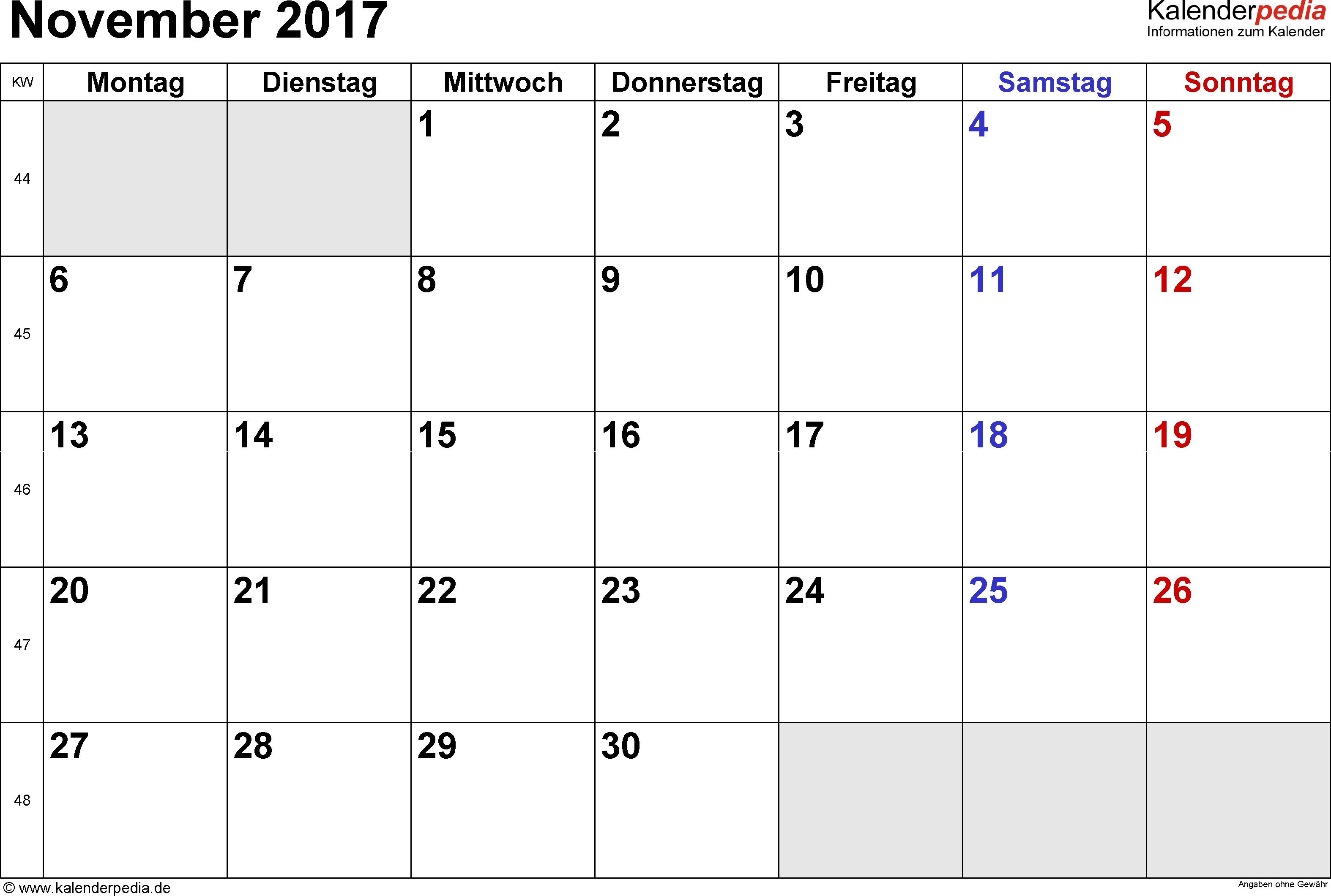 Kalender November 2017 im Querformat kleine Ziffern